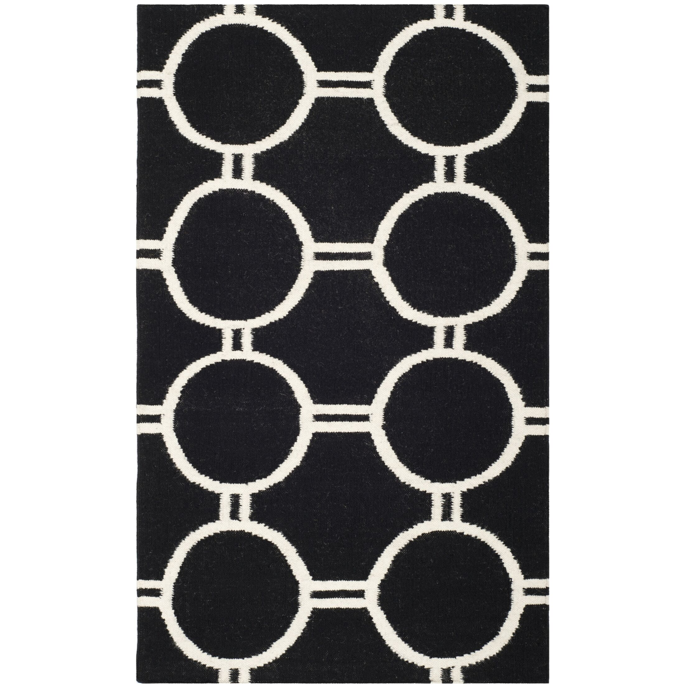 Dhurries Black/Ivory Area Rug Rug Size: Rectangle 4' x 6'