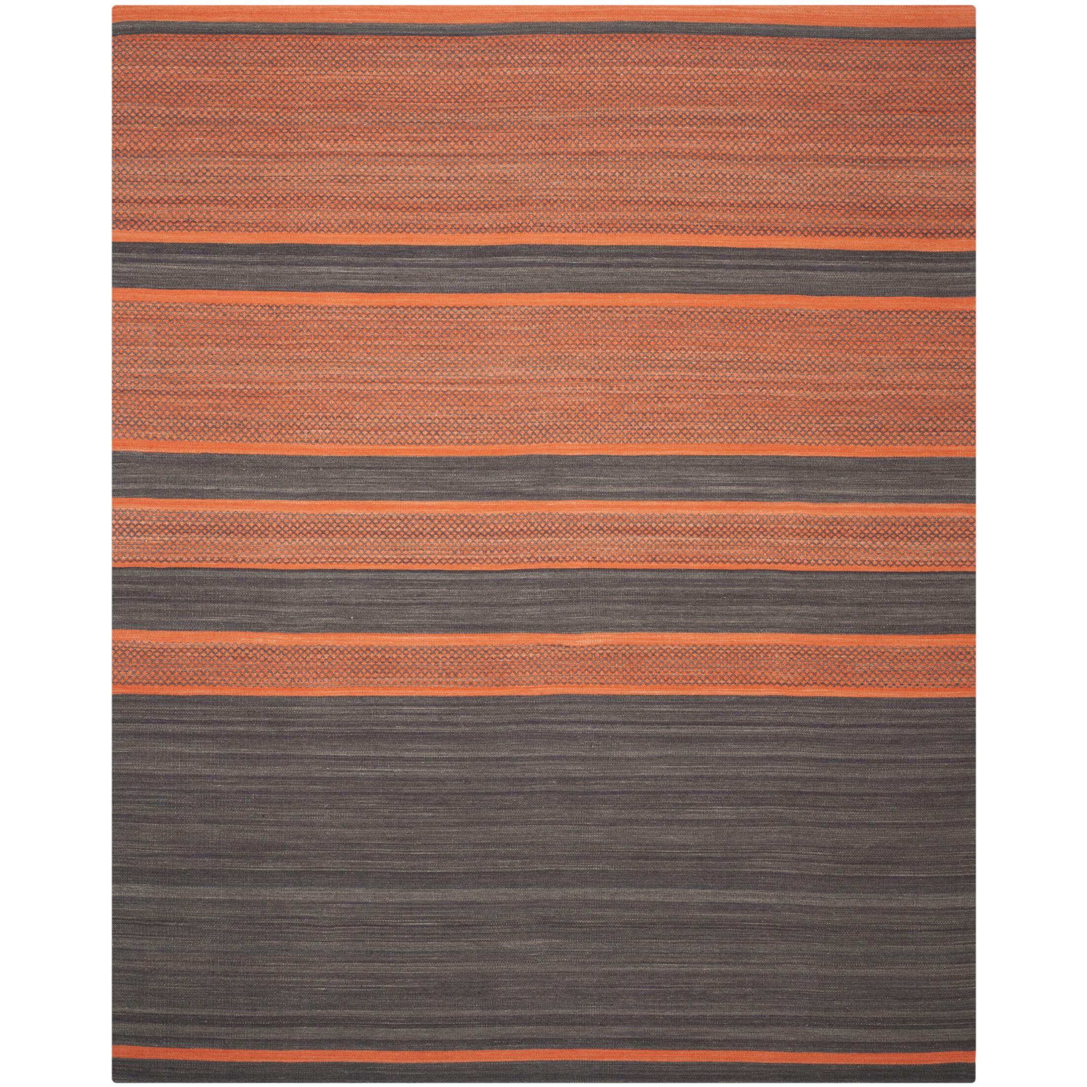 Kilim Hand Woven Cotton Grey/Orange Area Rug Rug Size: Rectangle 9' x 12'