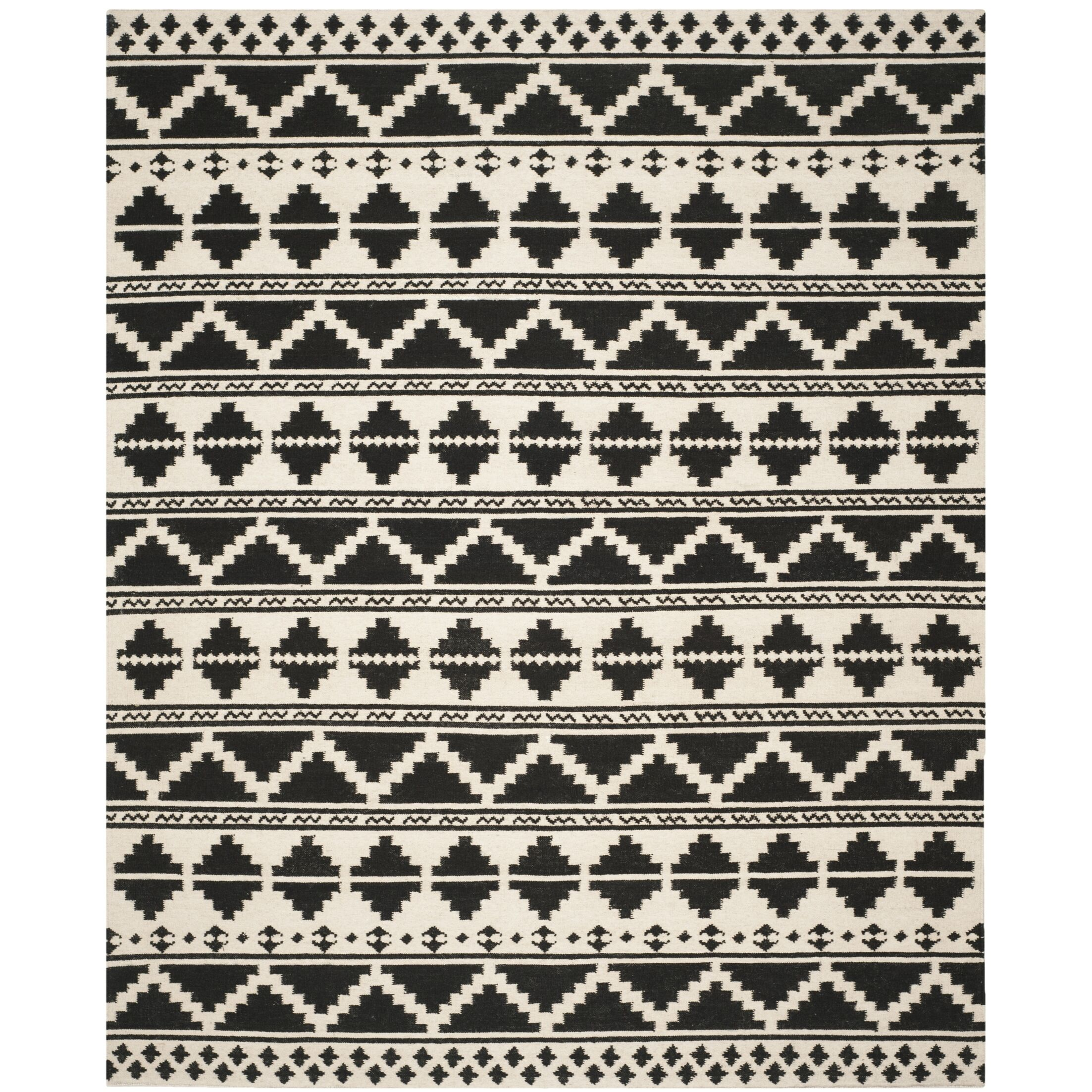 Dhurries 100 Black/Ivory Area Rug Rug Size: Rectangle 8' x 10'