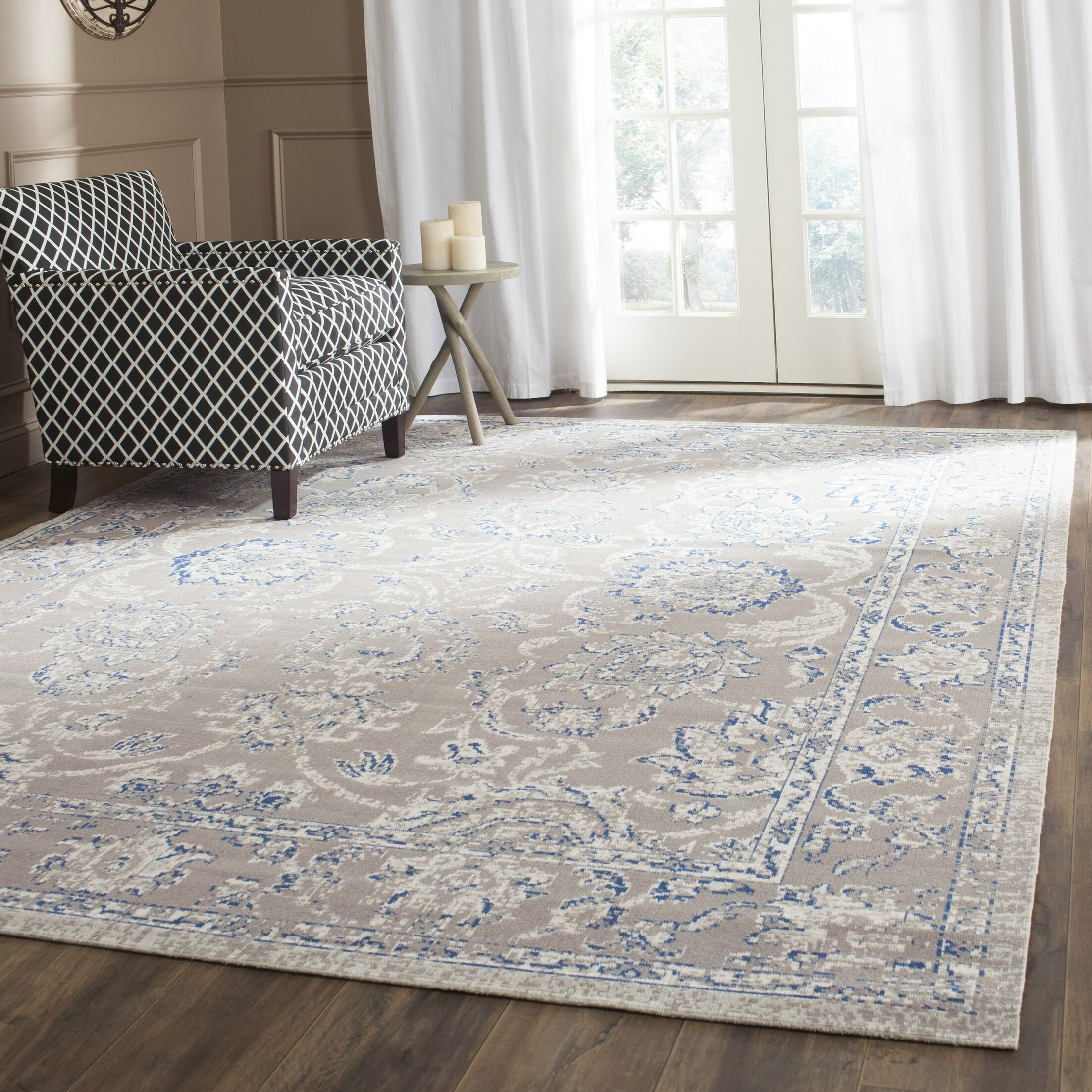 Nielsen Taupe / Blue Area Rug Rug Size: Rectangle 6'7