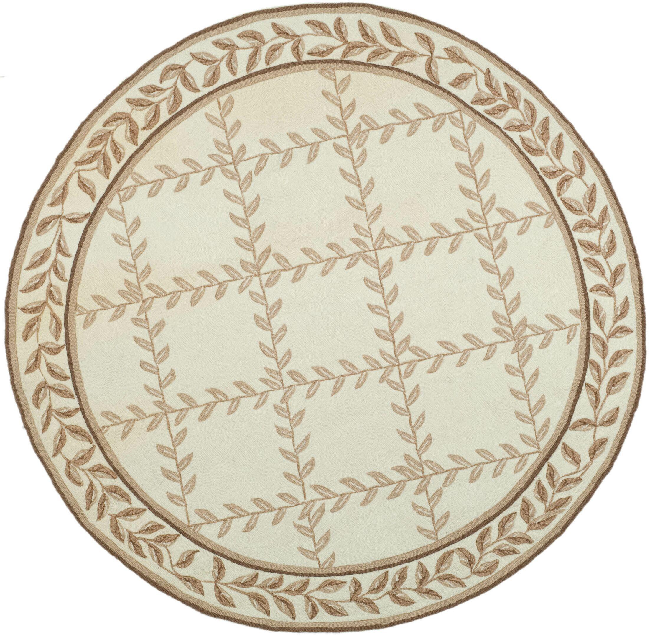 DuraRug Hand-Woven Ivory/Beige Area Rug Rug Size: Round 6'