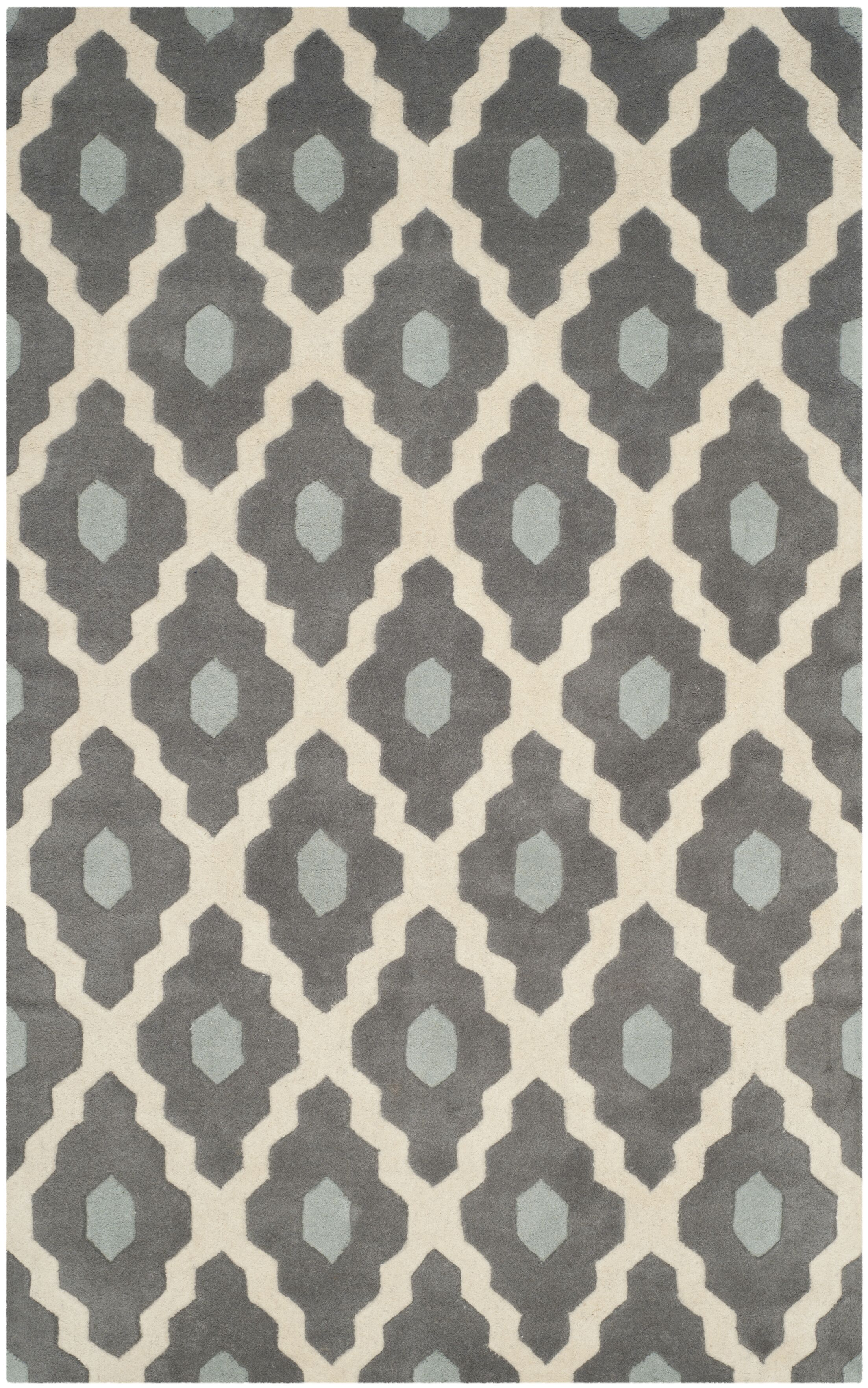 Wilkin Dark Gray/Ivory Moroccan Area Rug Rug Size: Rectangle 5' x 8'