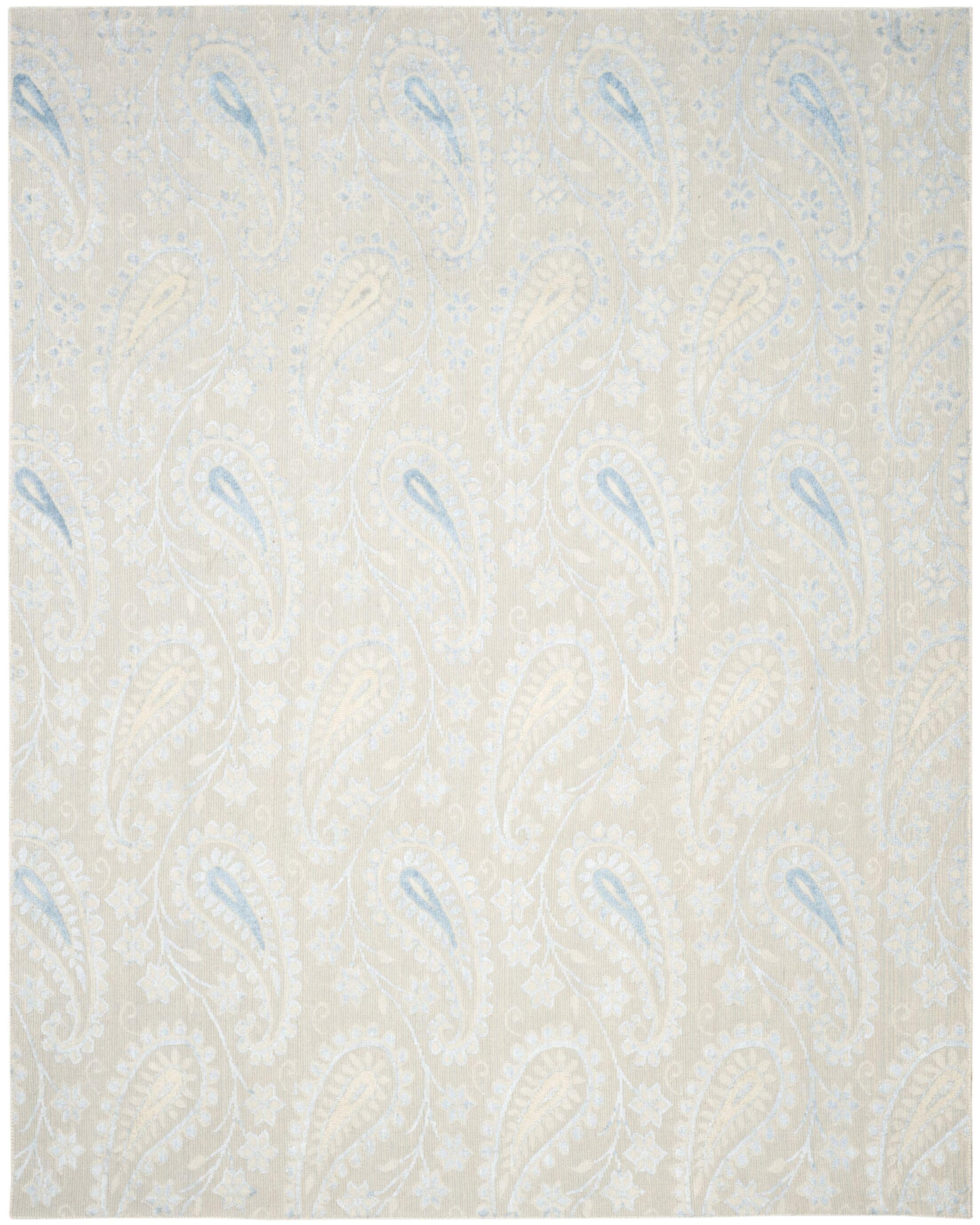 Erine Hand-Woven Light Blue/Beige Area Rug Rug Size: Rectangle 8' x 10'