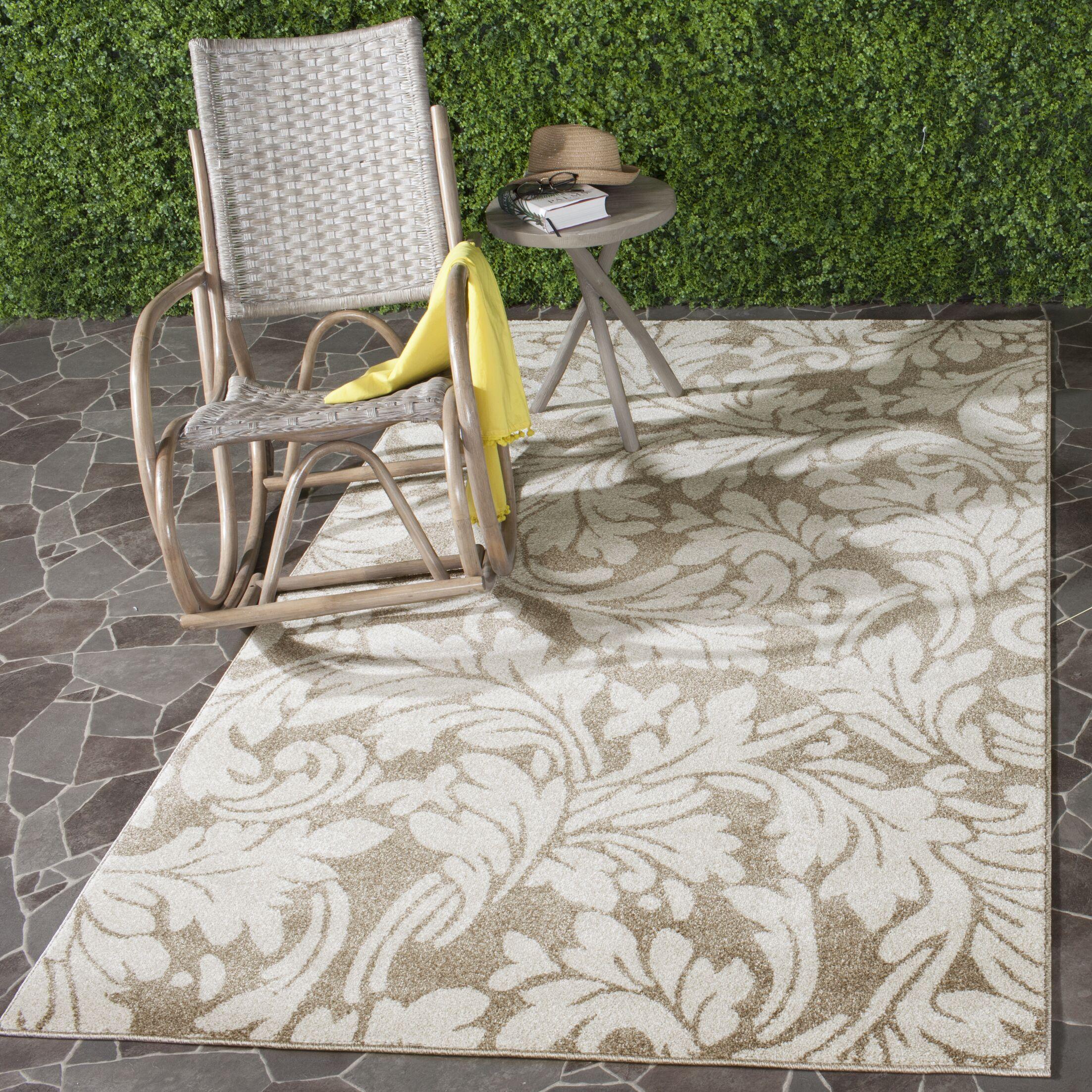 Maritza Floral Wheat/Beige Indoor/Outdoor Area Rug Rug Size: Round 5'