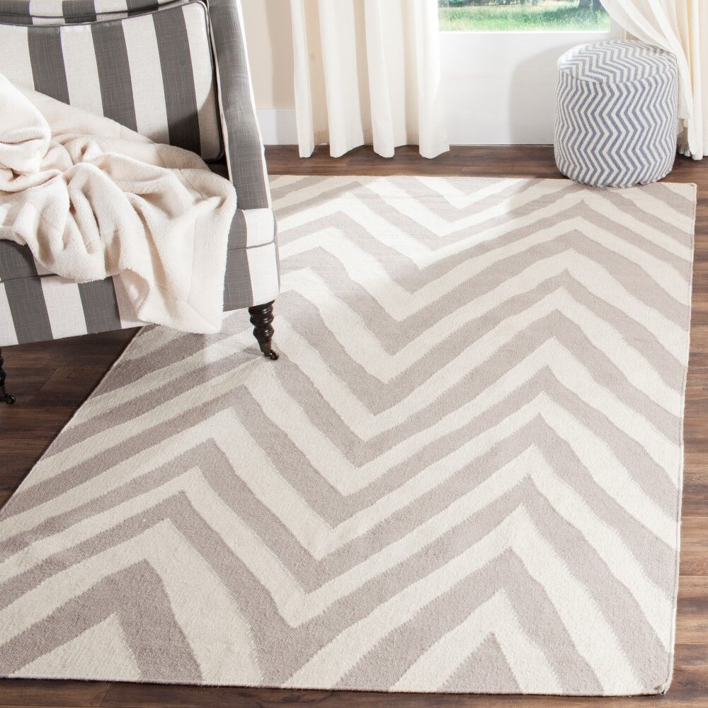 Dhurries Wool Gray/Ivory Area Rug Rug Size: Rectangle 9' x 12'