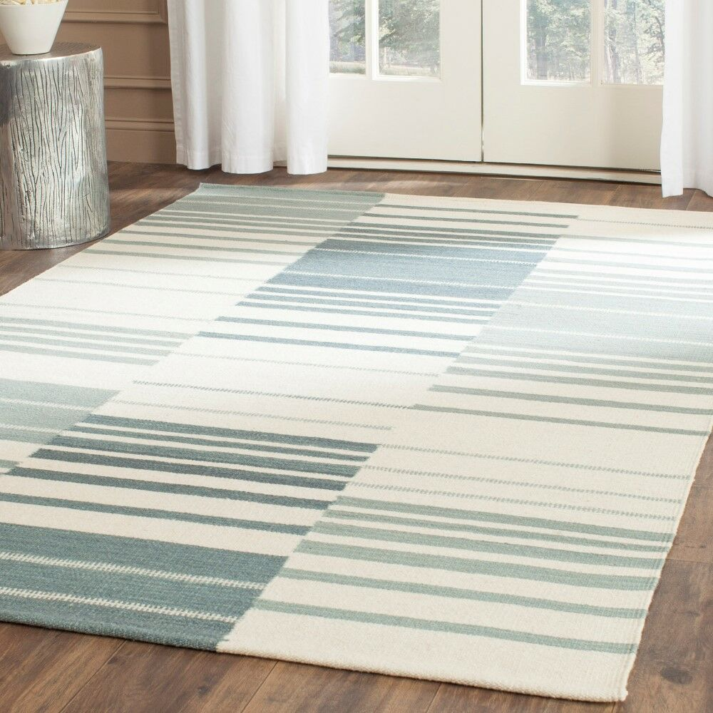 Kilim Blue & Ivory Striped Area Rug Rug Size: Rectangle 5' x 8'
