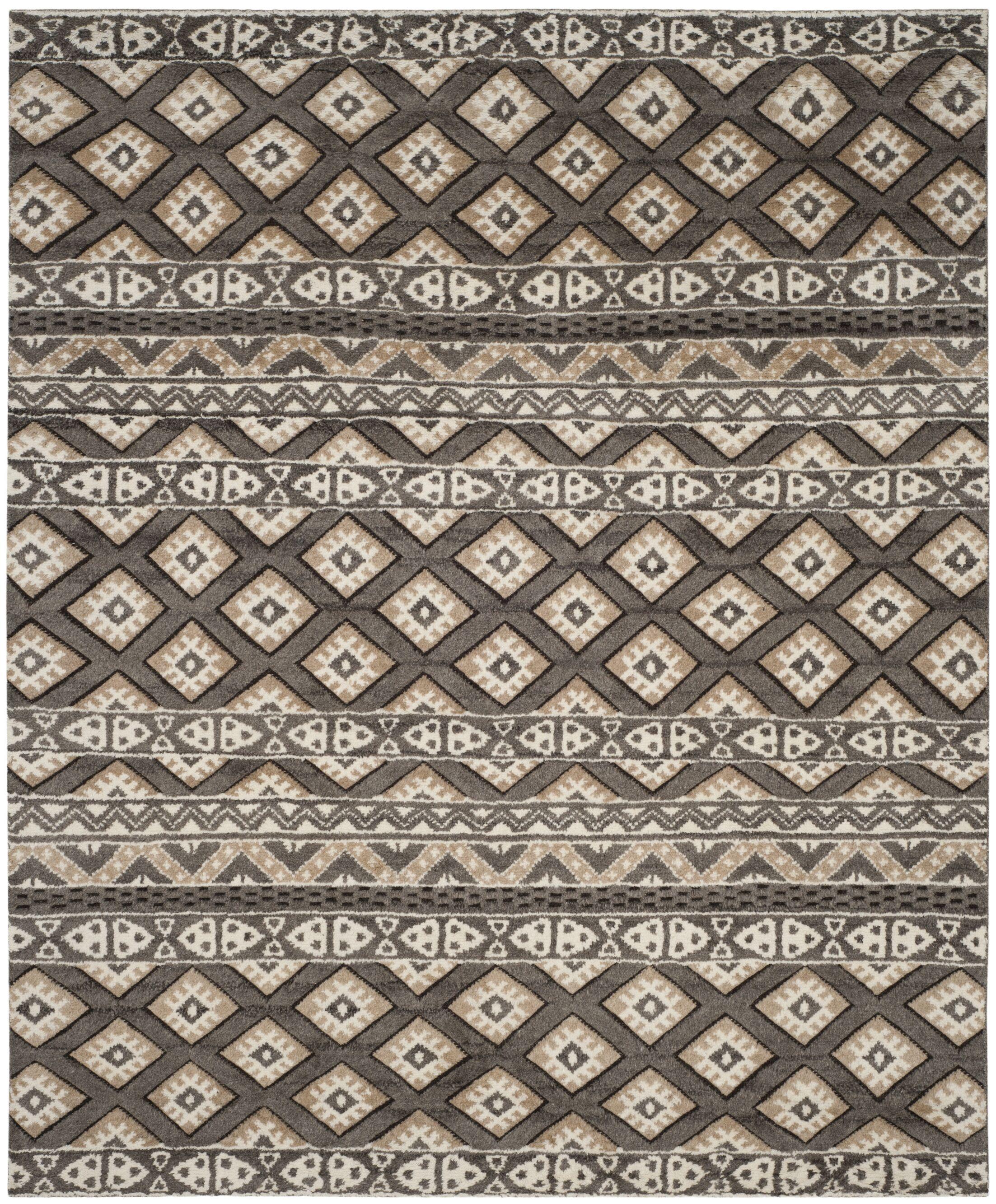 Eldert Hand-Knotted Beige Area Rug Rug Size: Rectangle 8' x 10'