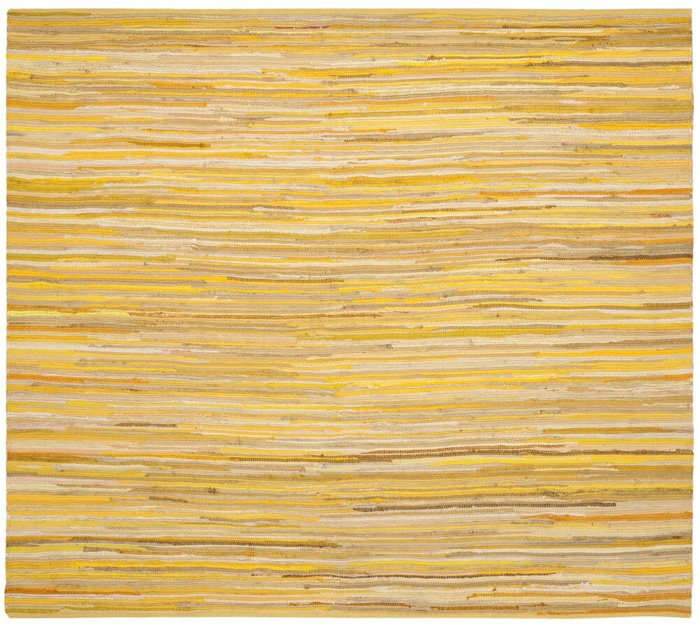 Hand-Woven Yellow Area Rug Rug Size: Square 6'
