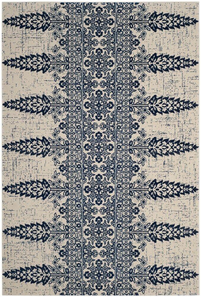 Elson Ivory/Royal Area Rug Rug Size: Rectangle 5'1