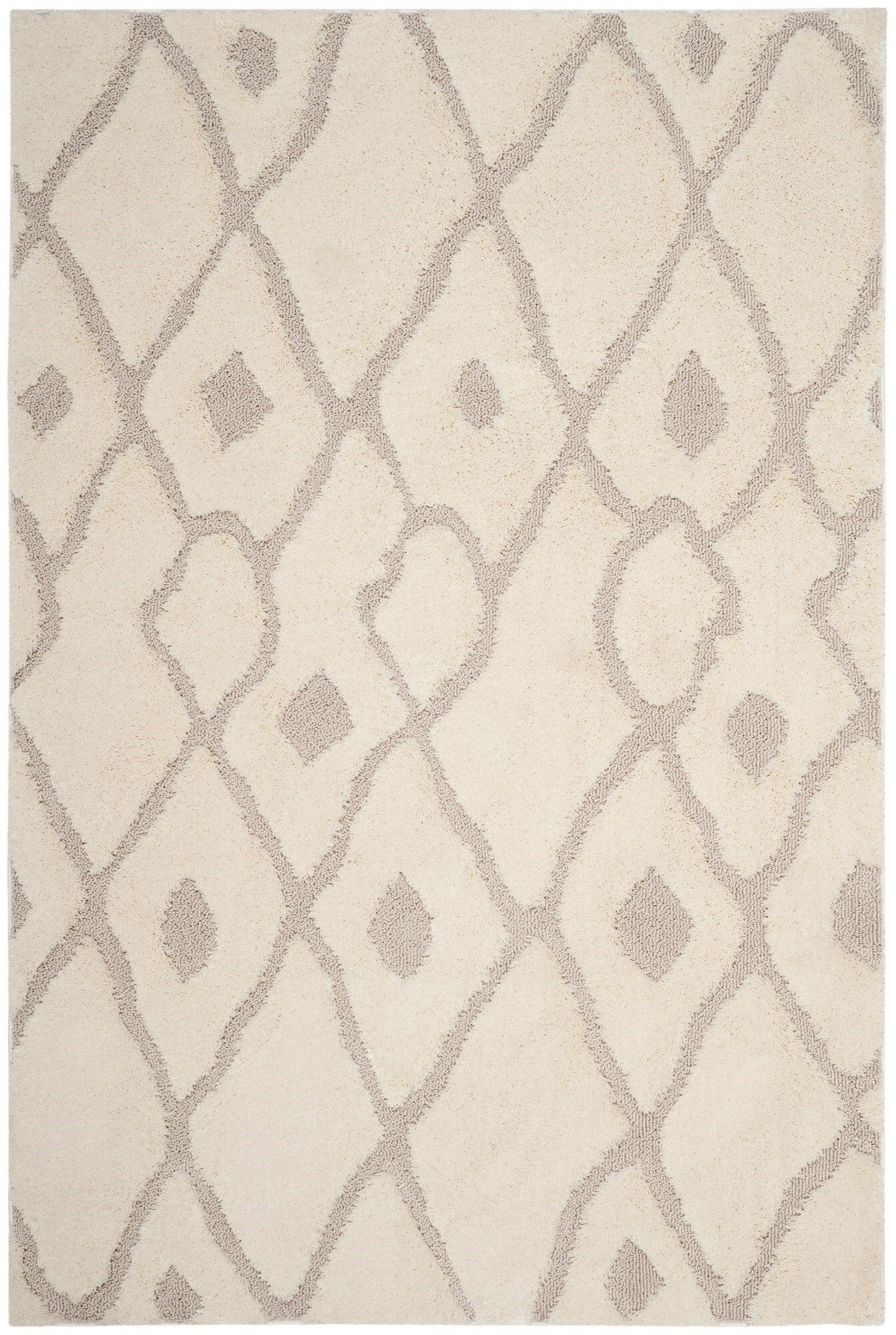 Helms Cream/Brown Area Rug Rug Size: Rectangle 4' x 6'