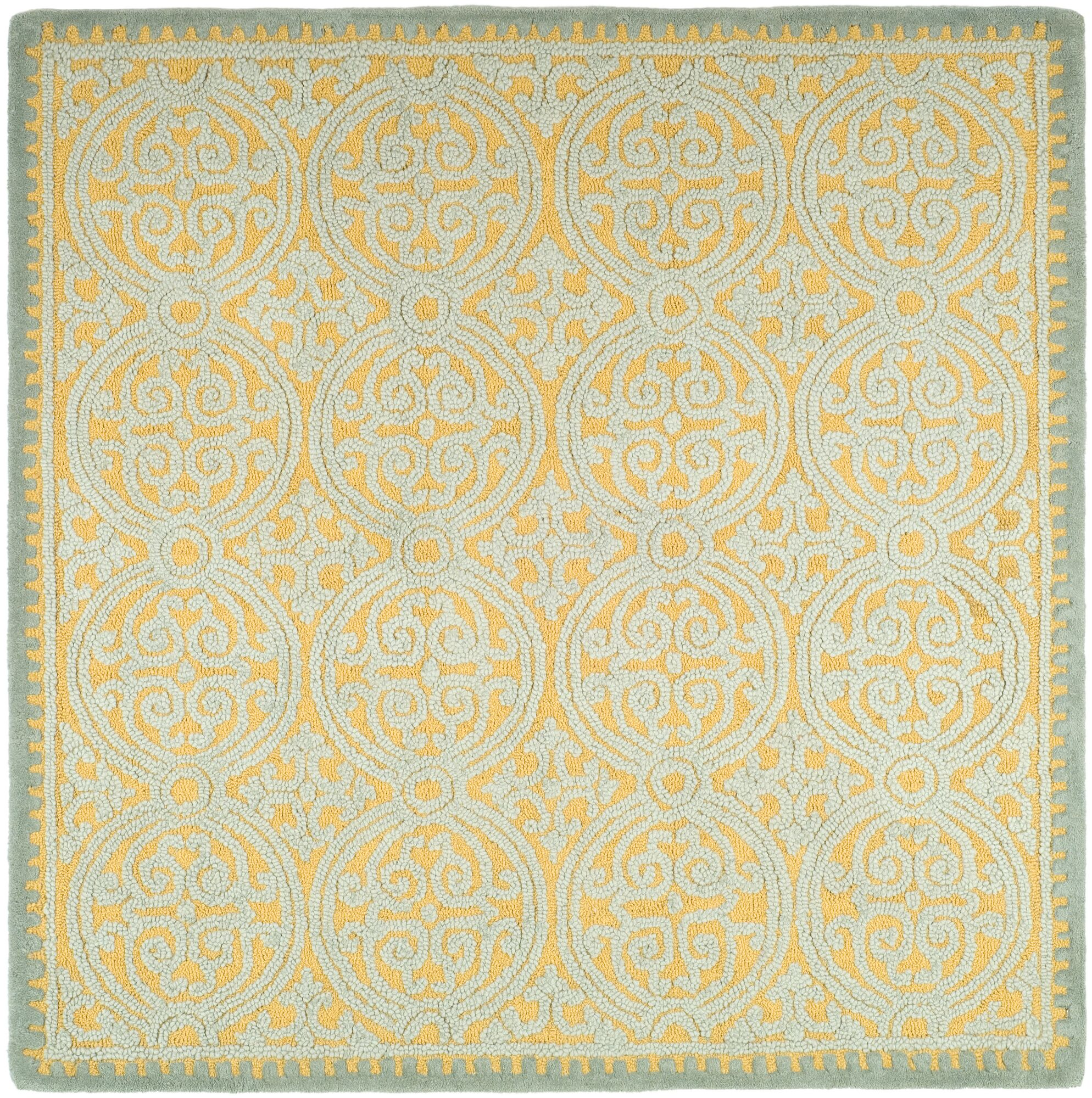 Charlenne Hand-Tufted Blue/Gold Area Rug Rug Size: Square 6'