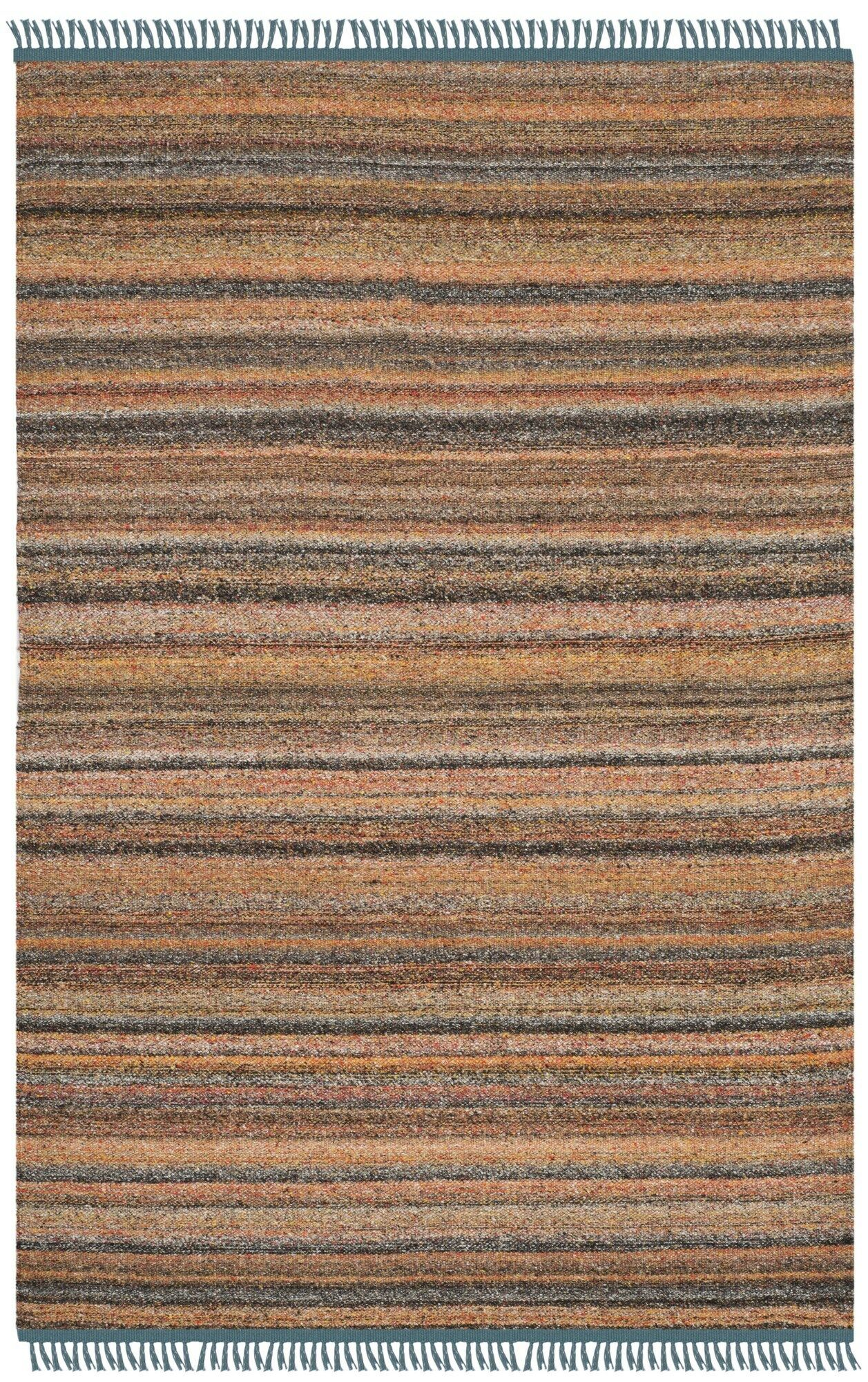 Sojourn Hand-Woven Orange/Blue Area Rug Rug Size: Rectangle 4' x 6'