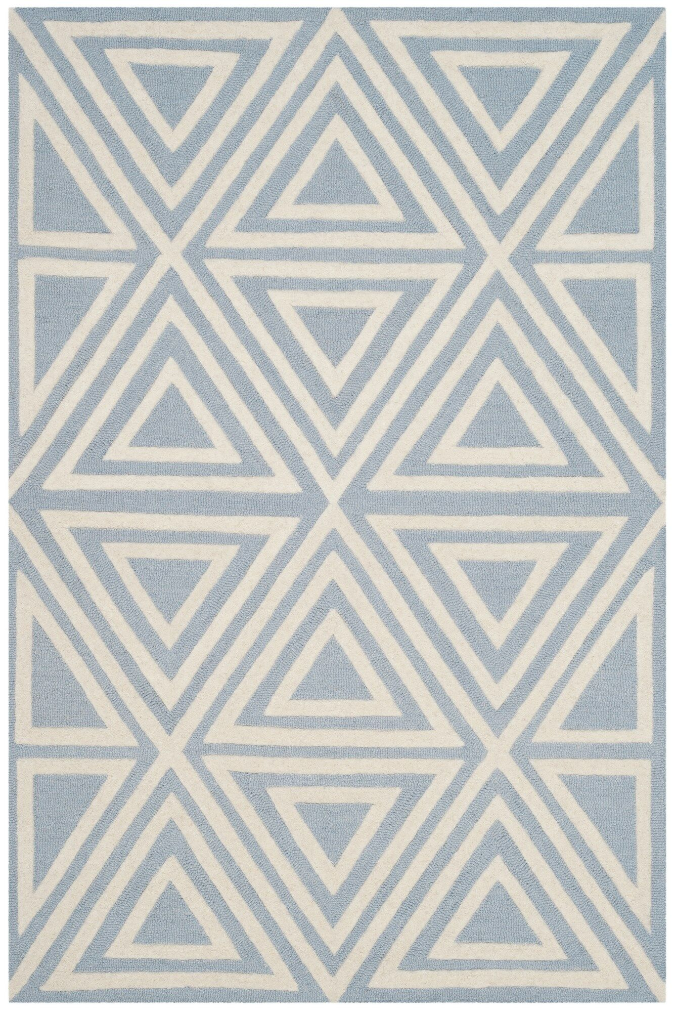 Claro Triangles Hand-Tufted Blue/Ivory Area Rug Rug Size: Square 5'