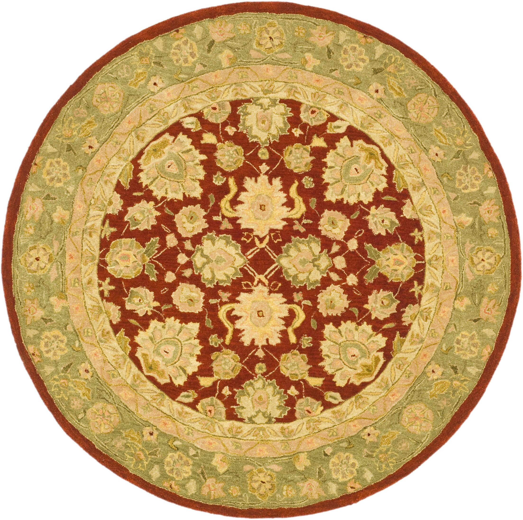 Pritchard Red/Moss Area Rug Rug Size: Round 4'