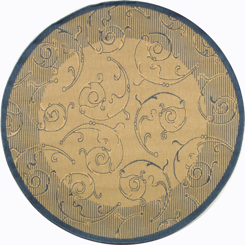 Alberty Natural / Blue Outdoor Area Rug Rug Size: Round 5'3