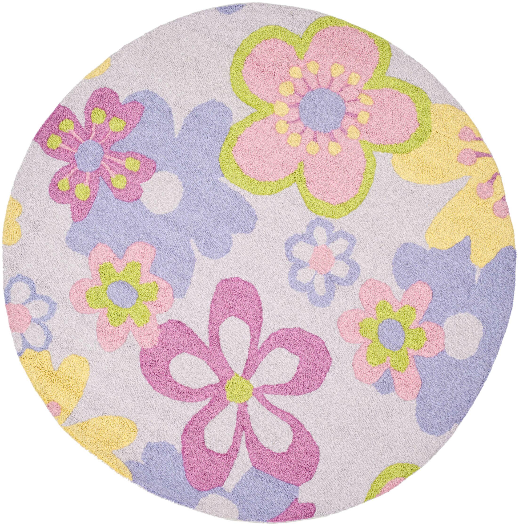 LeVar Hand-Tufted Pink/Purple Area Rug Rug Size: Round 4'