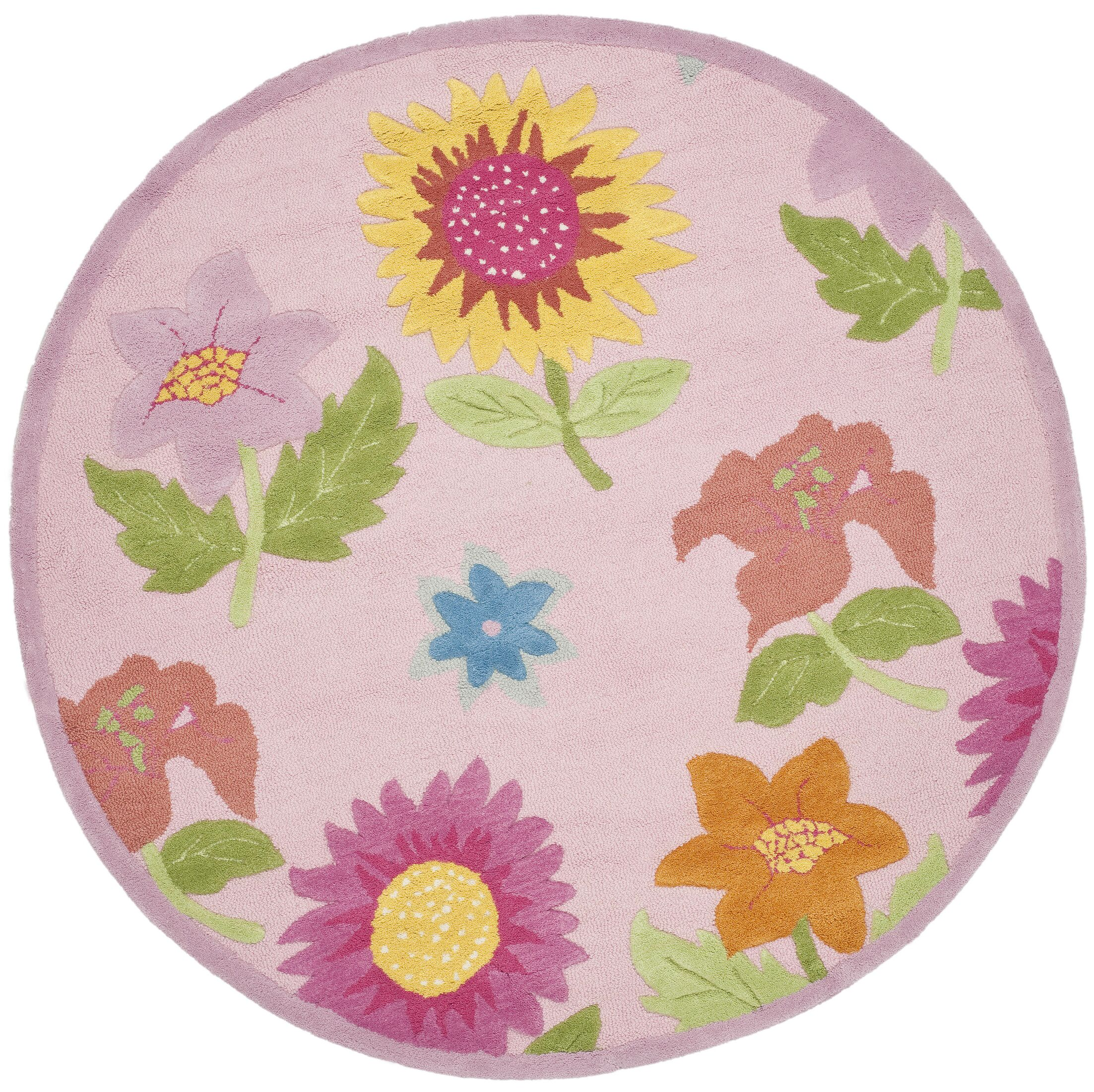 Claro Pink Floral Area Rug Rug Size: Round 6'