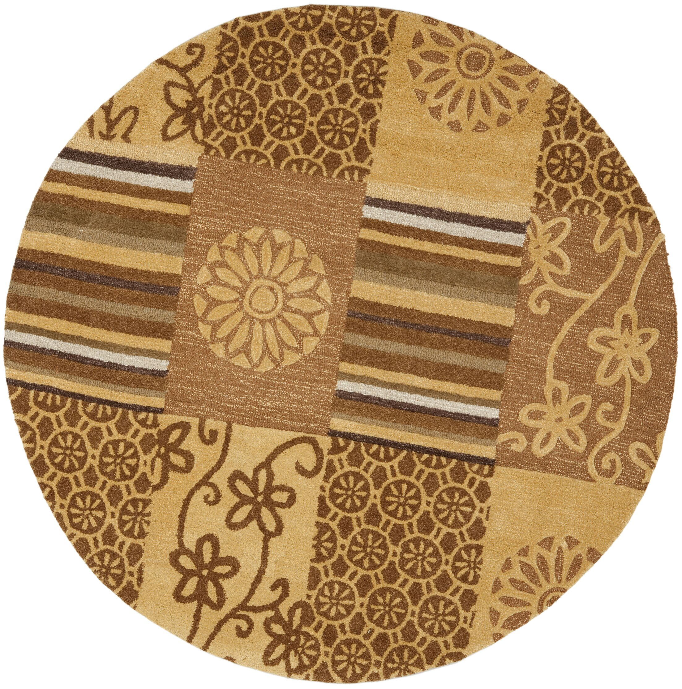 Colette Tan Area Rug Rug Size: Round 6'