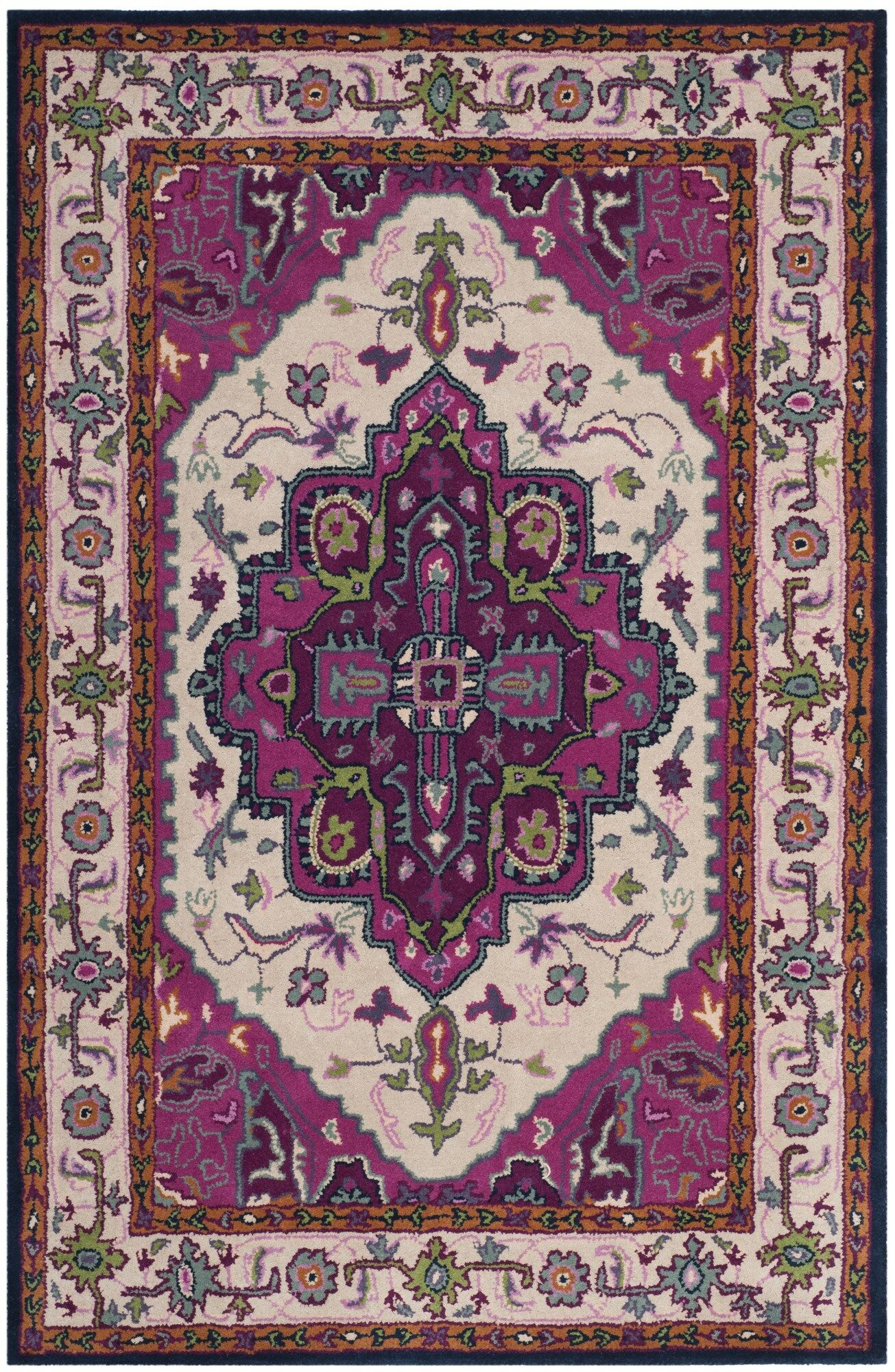 Blokzijl Hand-Tufted Wool Purple Area Rug Rug Size: Rectangle 3' x 5'