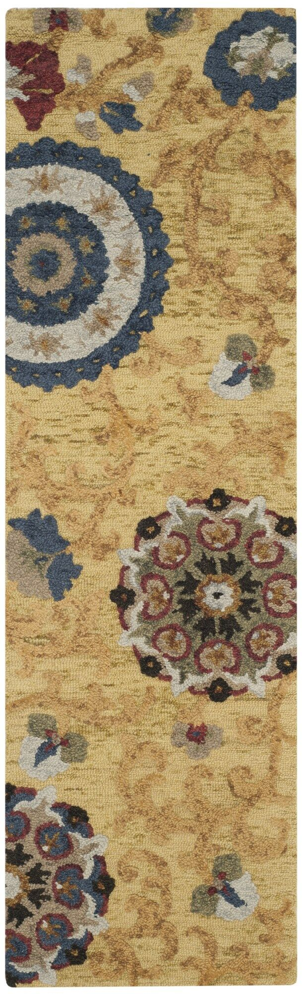 Mudoch Hand-Tufted Wool Gold Area Rug Rug Size: Runner 2'3