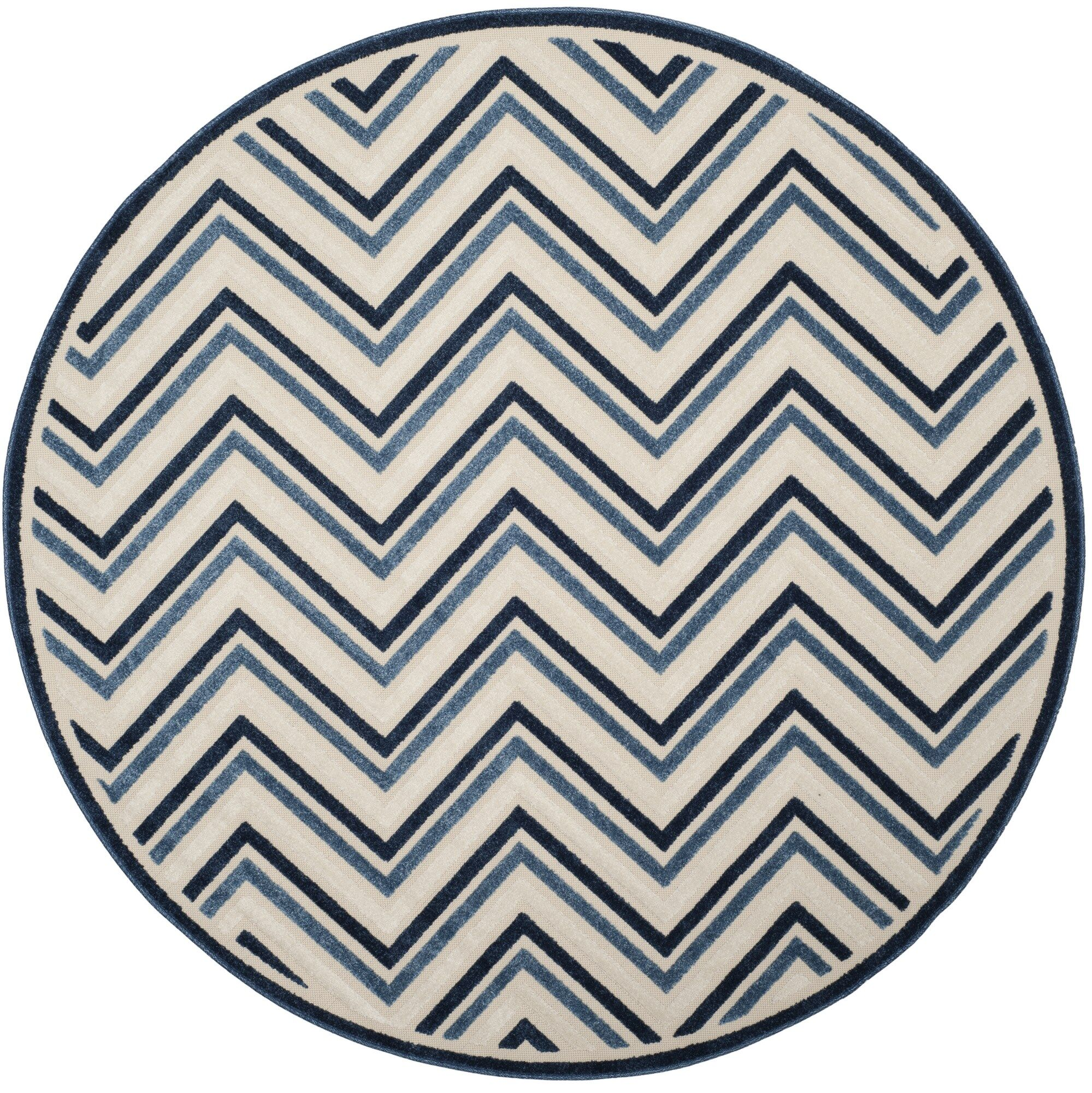 Holly Cream/Blue Indoor/Outdoor Area Rug Rug Size: Round 6'7