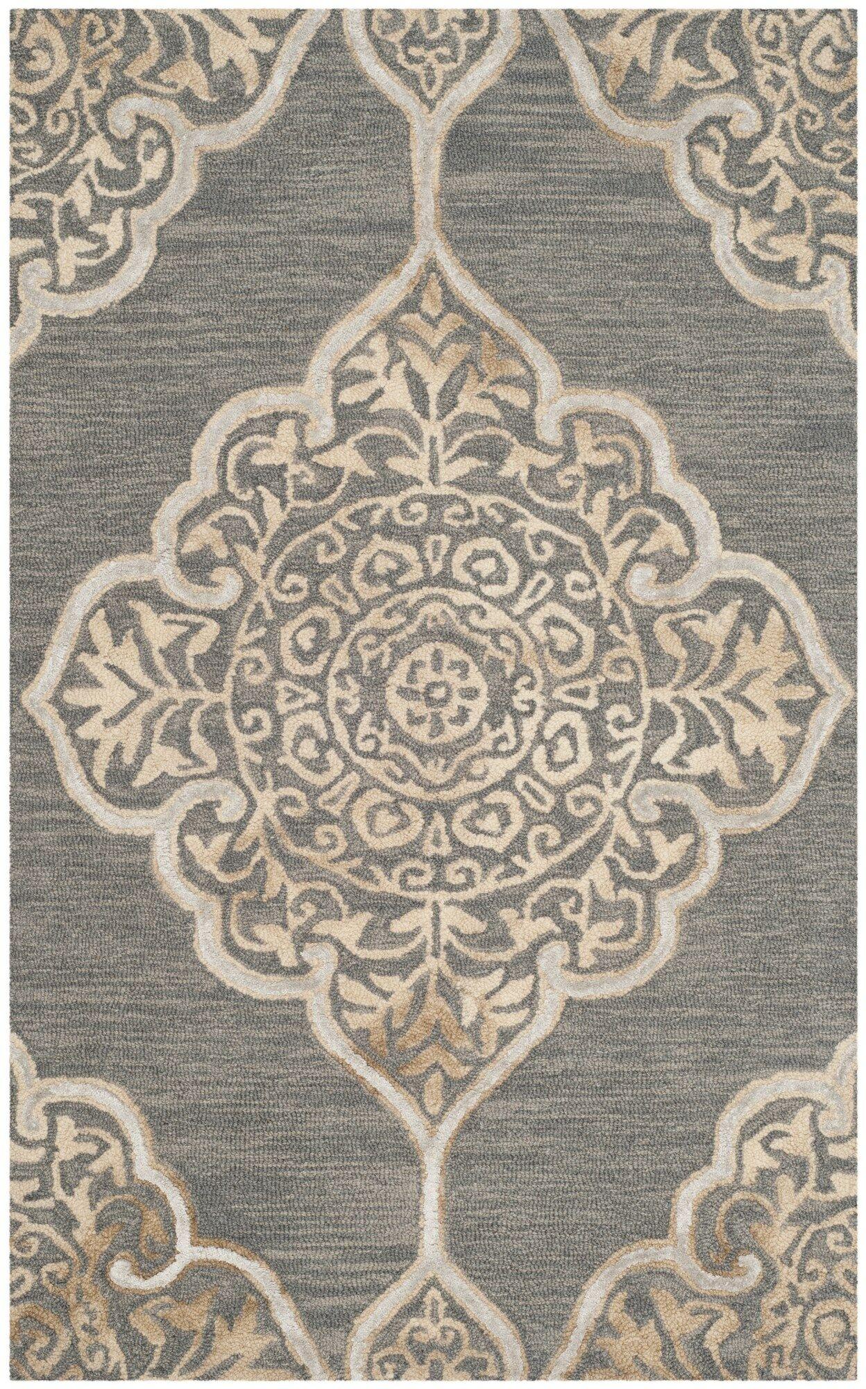 Brennan Hand-Tufted Wool Slate Area Rug Rug Size: Rectangle 3' x 5'