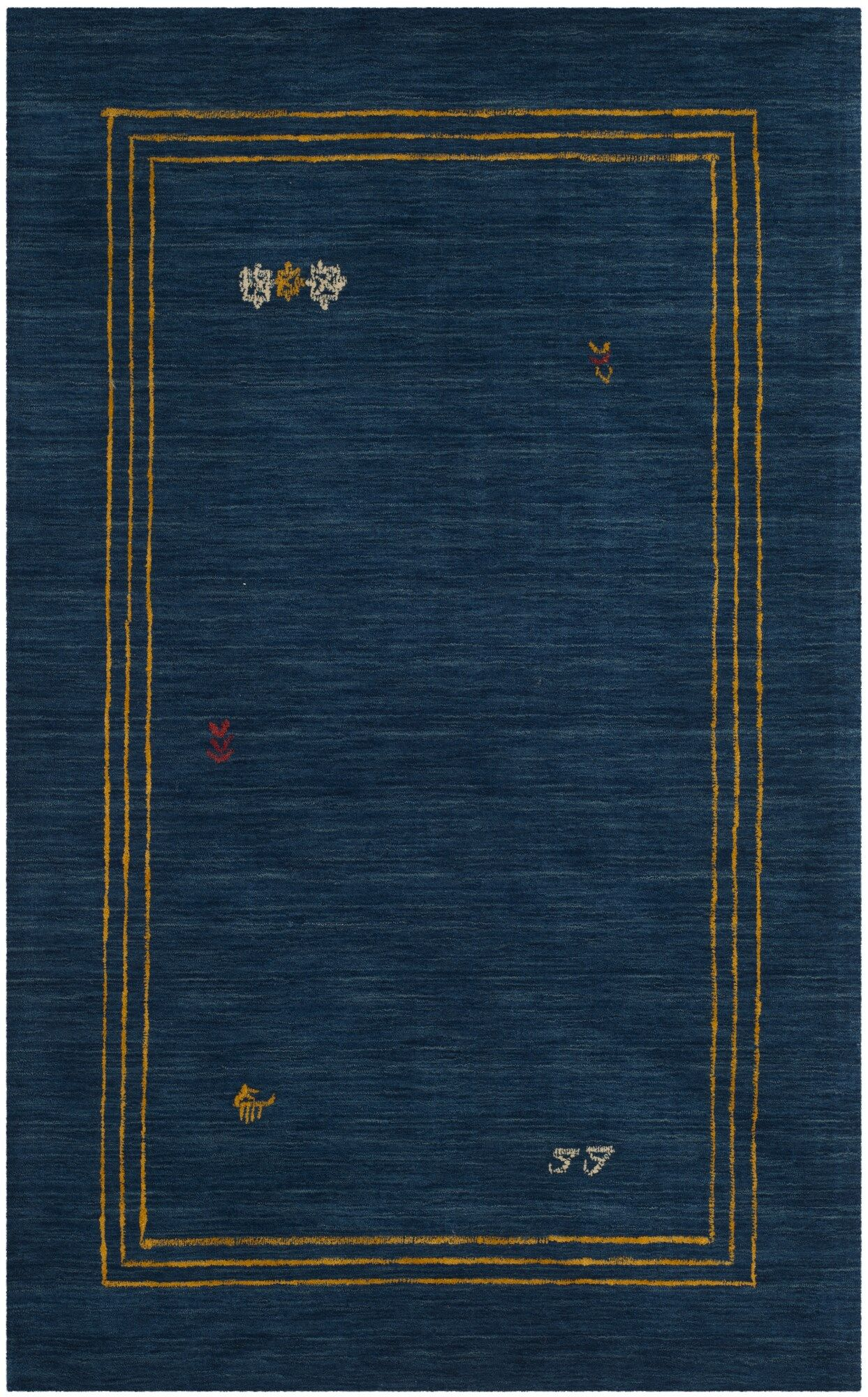Hossain Hand-Loomed Wool Blue Area Rug Rug Size: Rectangle 5' x 8'
