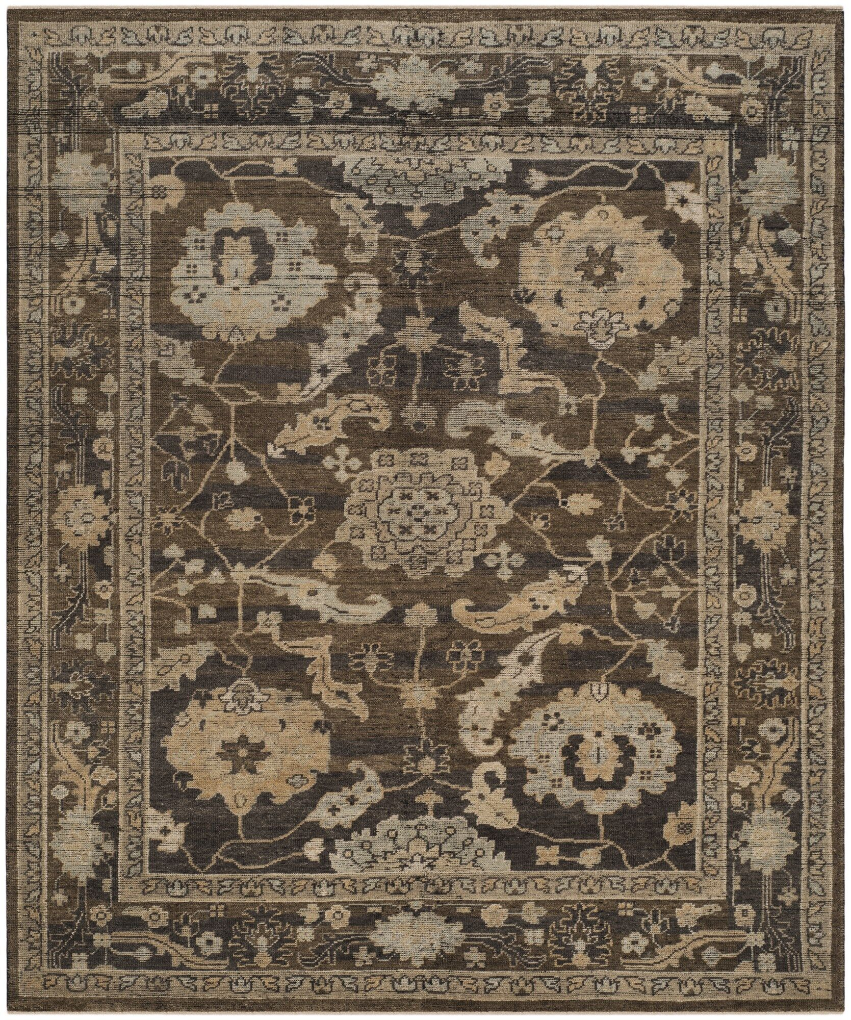 Kline Hand-Knotted Wool Charcoal Indoor/Outdoor Area Rug Rug Size: Rectangle 9' X 12'