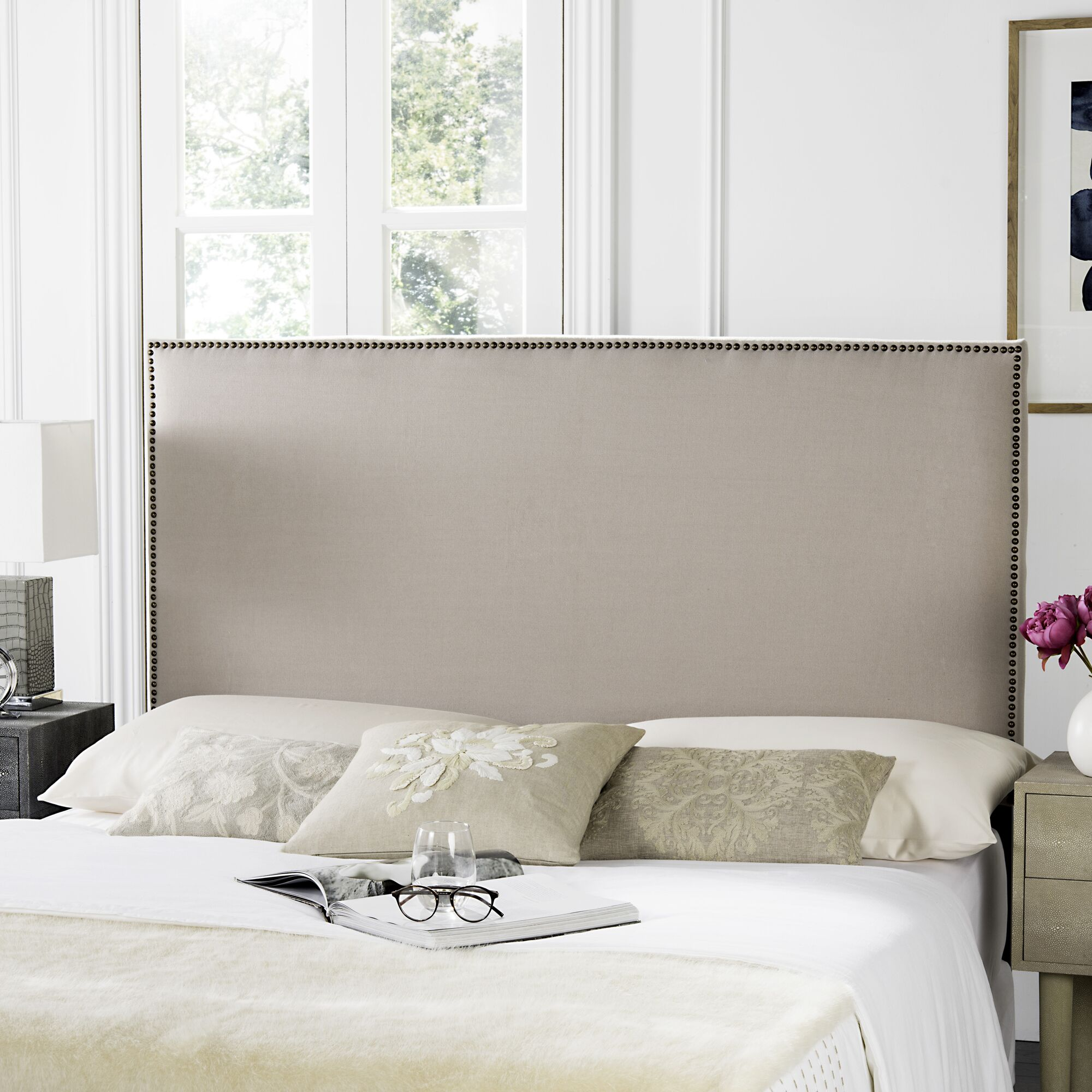 Farringdon Upholstered Wingback Headboard Upholstery: Linen Taupe, Size: Twin