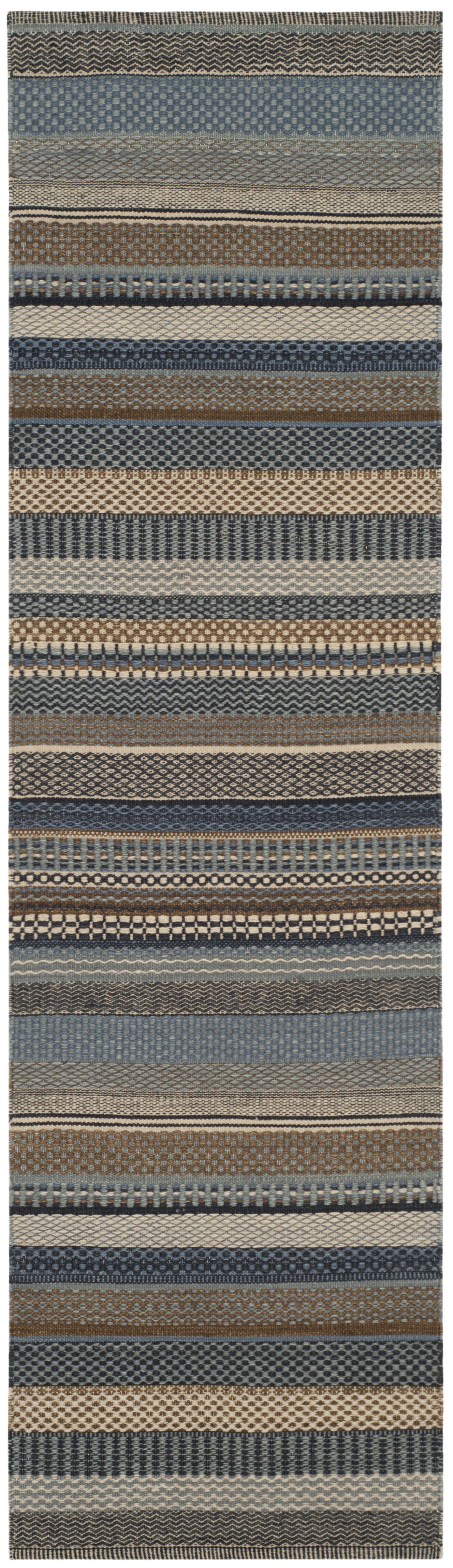 Kilim Hand-Tufted Wool Blue Area Rug Rug Size: Rectangle 3' x 5'