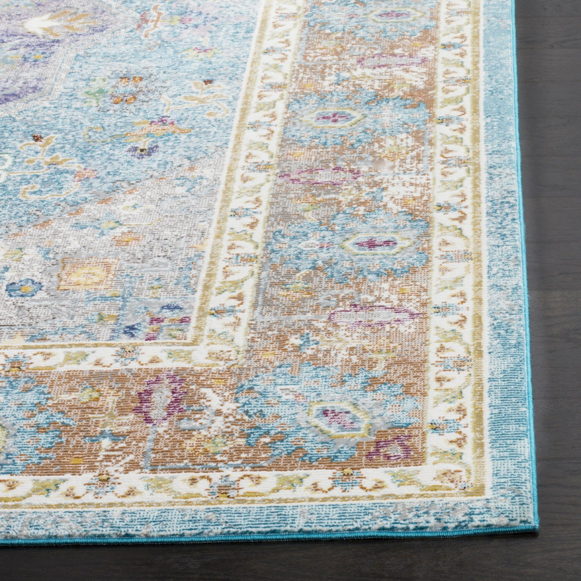 Monserrat Blue Area Rug Rug Size: Rectangle 9' x 12'