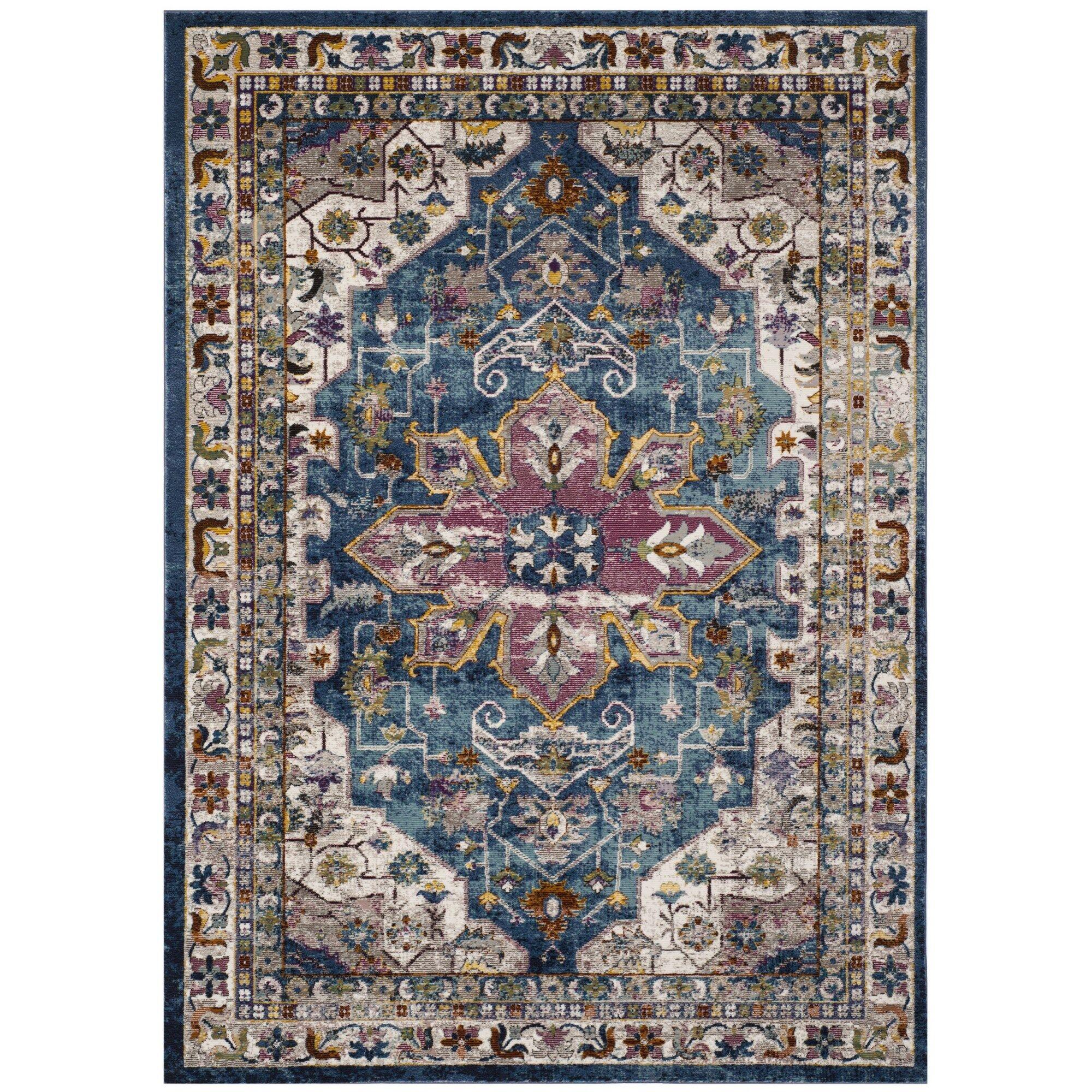 Monserrat Blue Indoor Area Rug Rug Size: Rectangle 4' x 6'