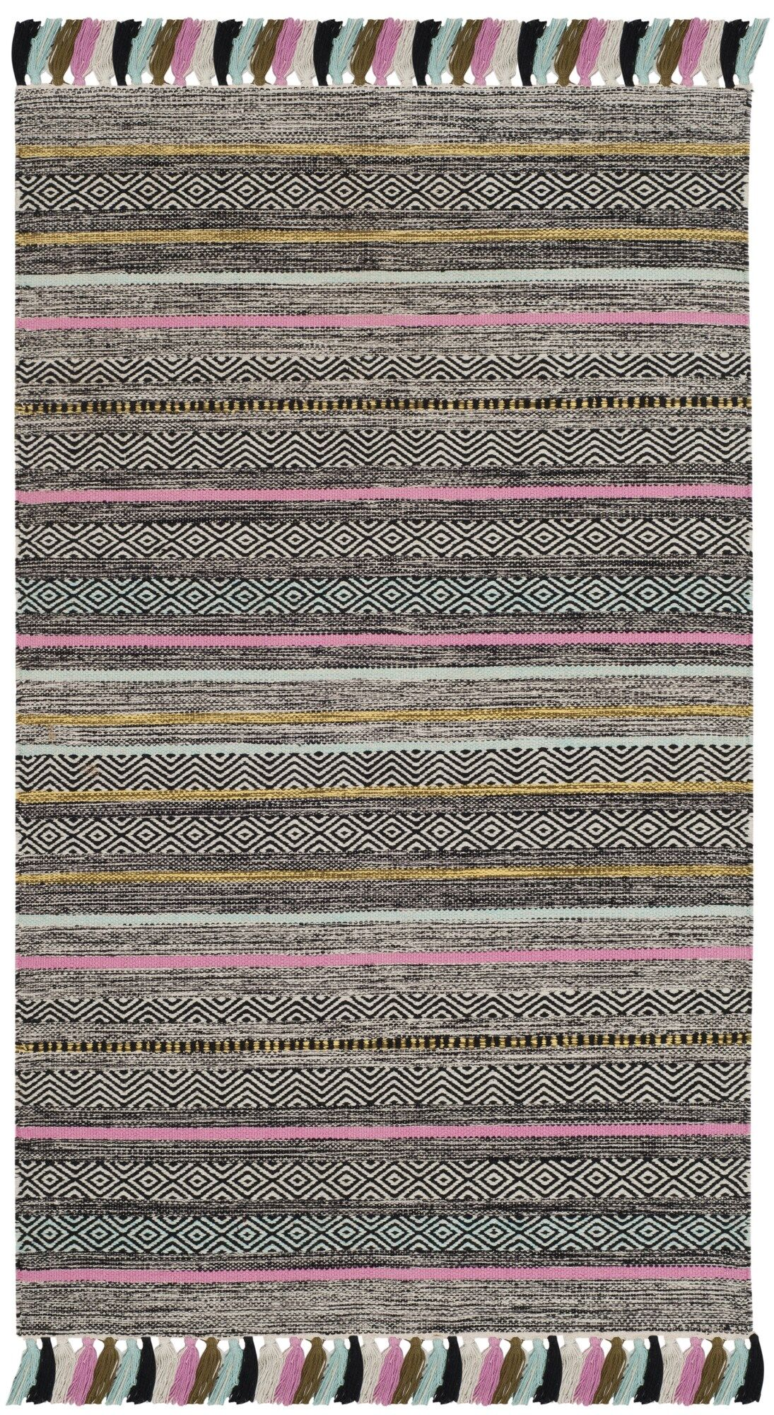 Trenton Hand-Woven Cotton Black Area Rug Rug Size: Rectangle 8' x 10'