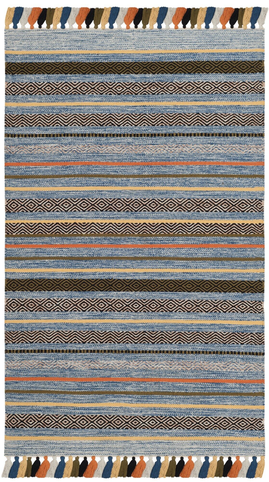 Trenton Hand-Woven Cotton Blue Area Rug Rug Size: Square 6'