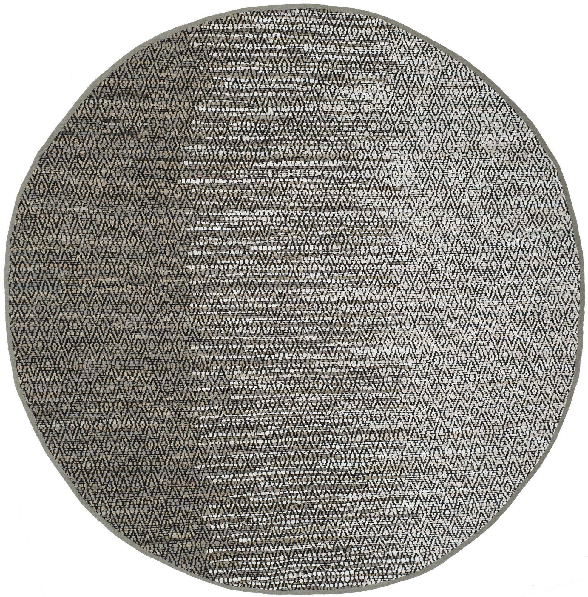 Erik Hand-Woven Light Grey/Grey Area Rug Rug Size: Round 6'