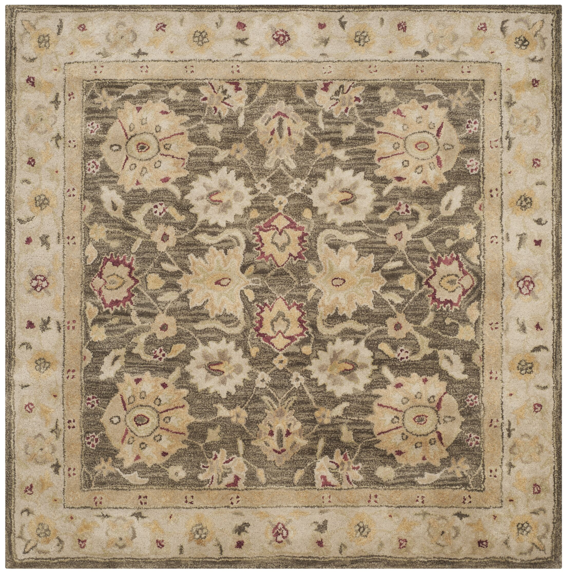 Tinley Hand-Tufted Wool Olive Gray Area Rug Rug Size: Square 6'