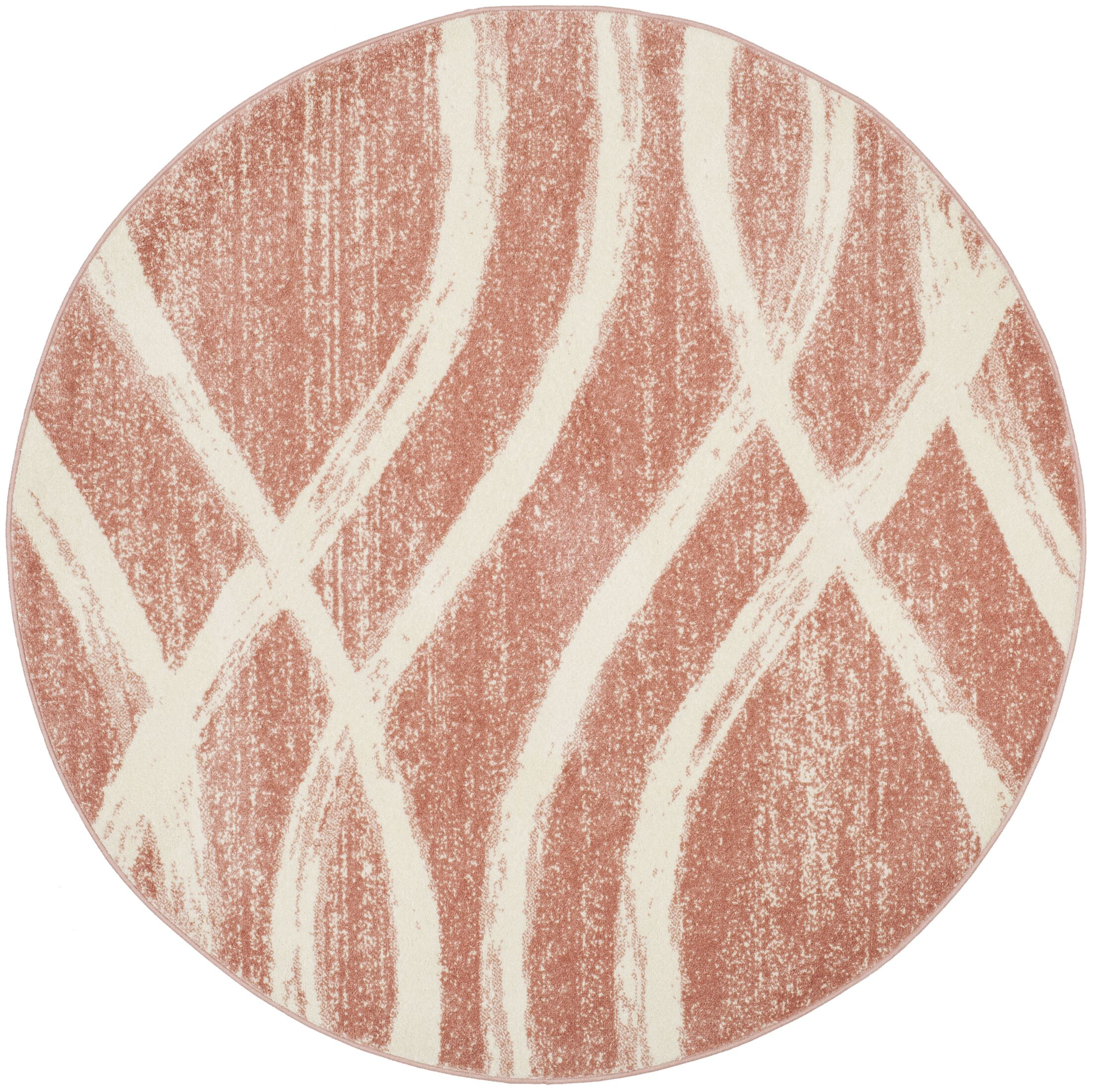 Graciano Pink/Beige Area Rug Rug Size: Round 6'