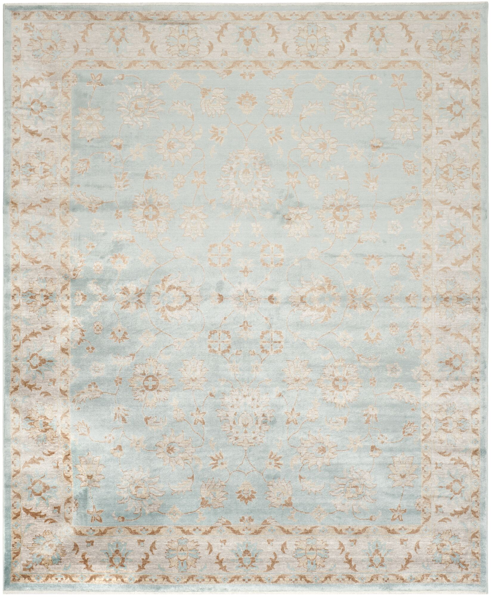 Prades Tibetan Hand Loomed Light Blue/Ivory Area Rug Rug Size: Rectangle 8' x 10'