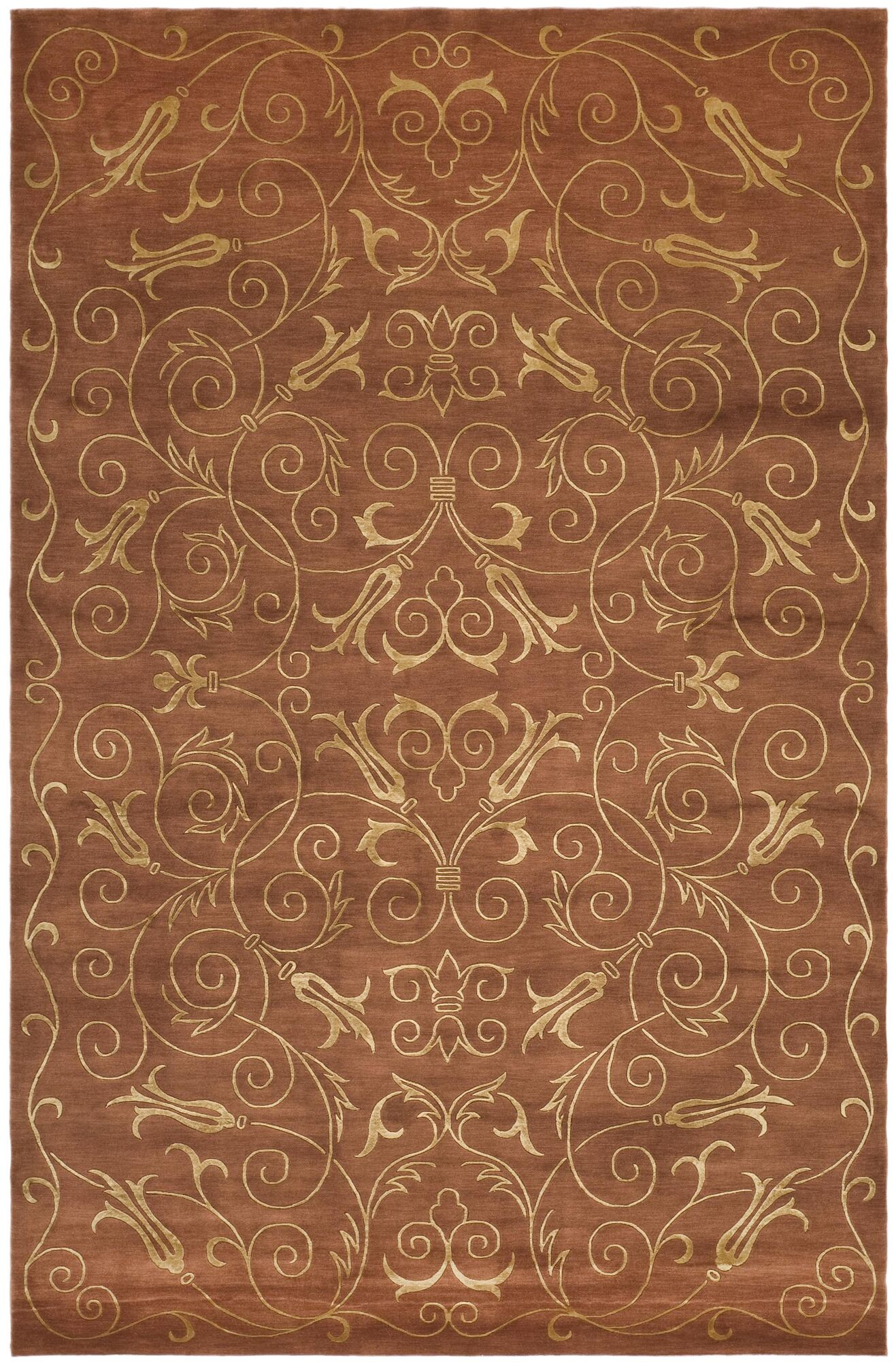 Echevarria hand knotted silk wool rust gold area rug rug size rectangle 8
