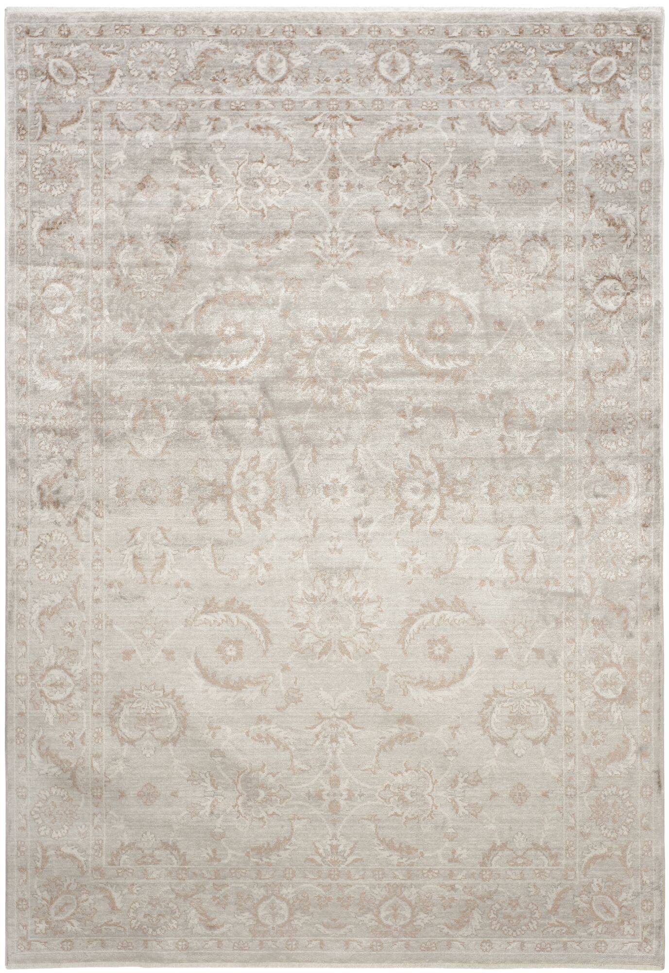 Prades Tibetan Hand Loomed Gray/Ivory Area Rug Rug Size: Rectangle 8' x 10'