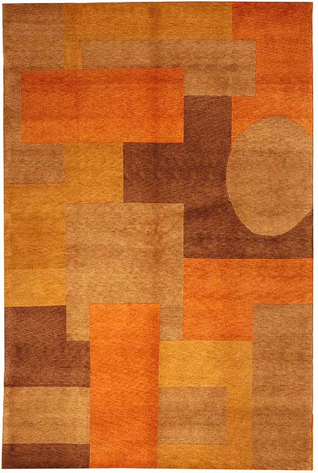 Dillinger Tibetan Hand Knotted Orange Area Rug Rug Size: Rectangle 6' x 9''