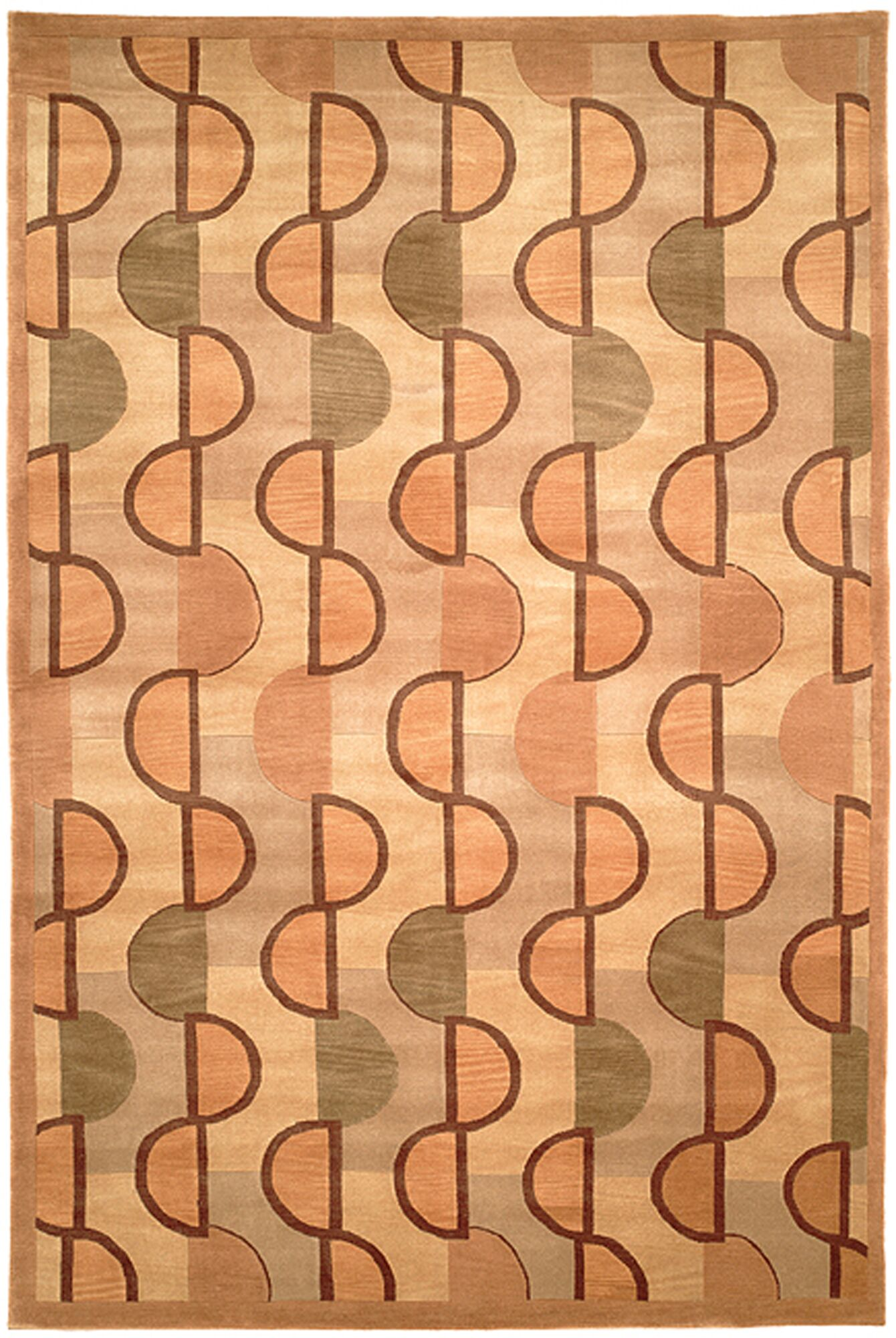 Dili Tibetan Hand Knotted Wool Beige/Rust Area Rug Rug Size: Rectangle 6' x 9''