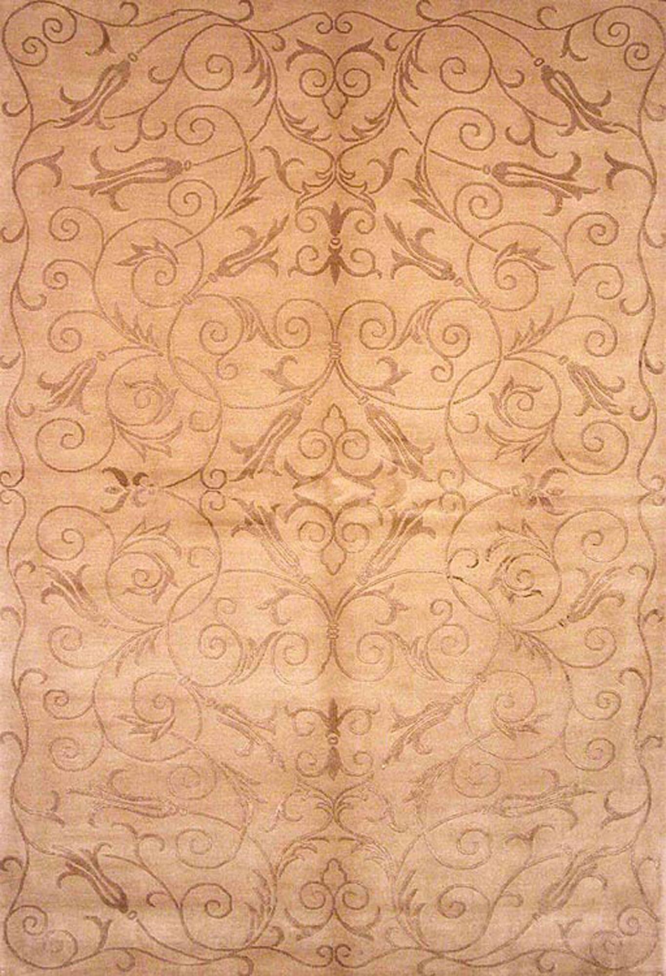 Honora Tibetan Hand Knotted Silk/Wool Light Gold Area Rug
