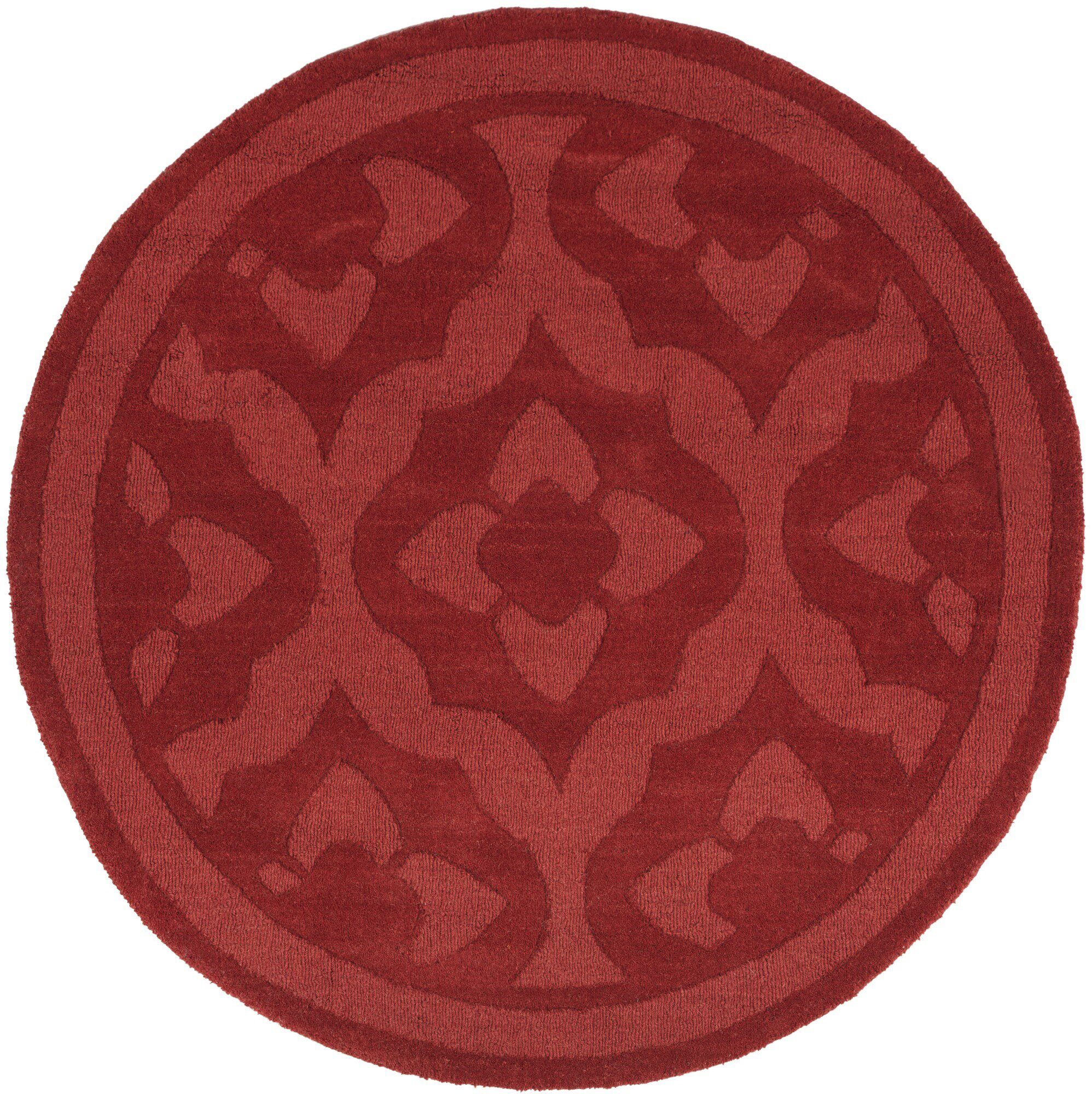 Trombetta Hand Tufted/Hand Loomed Wool Vermillion Area Rug Rug Size: Round 8'
