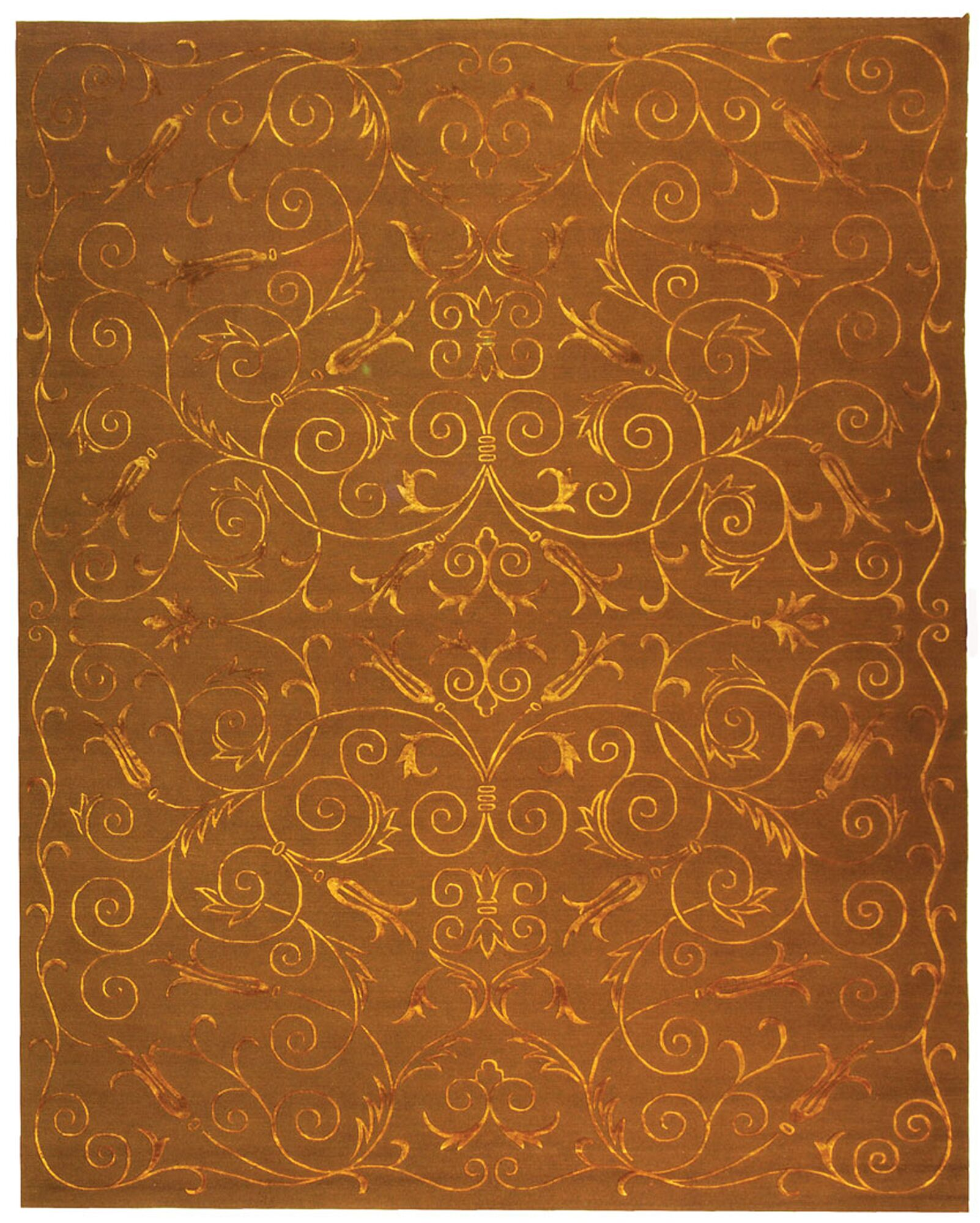 Honora Tibetan Hand Knotted Silk/Wool Deep Bronze Area Rug Rug Size: Rectangle 9' x 12'