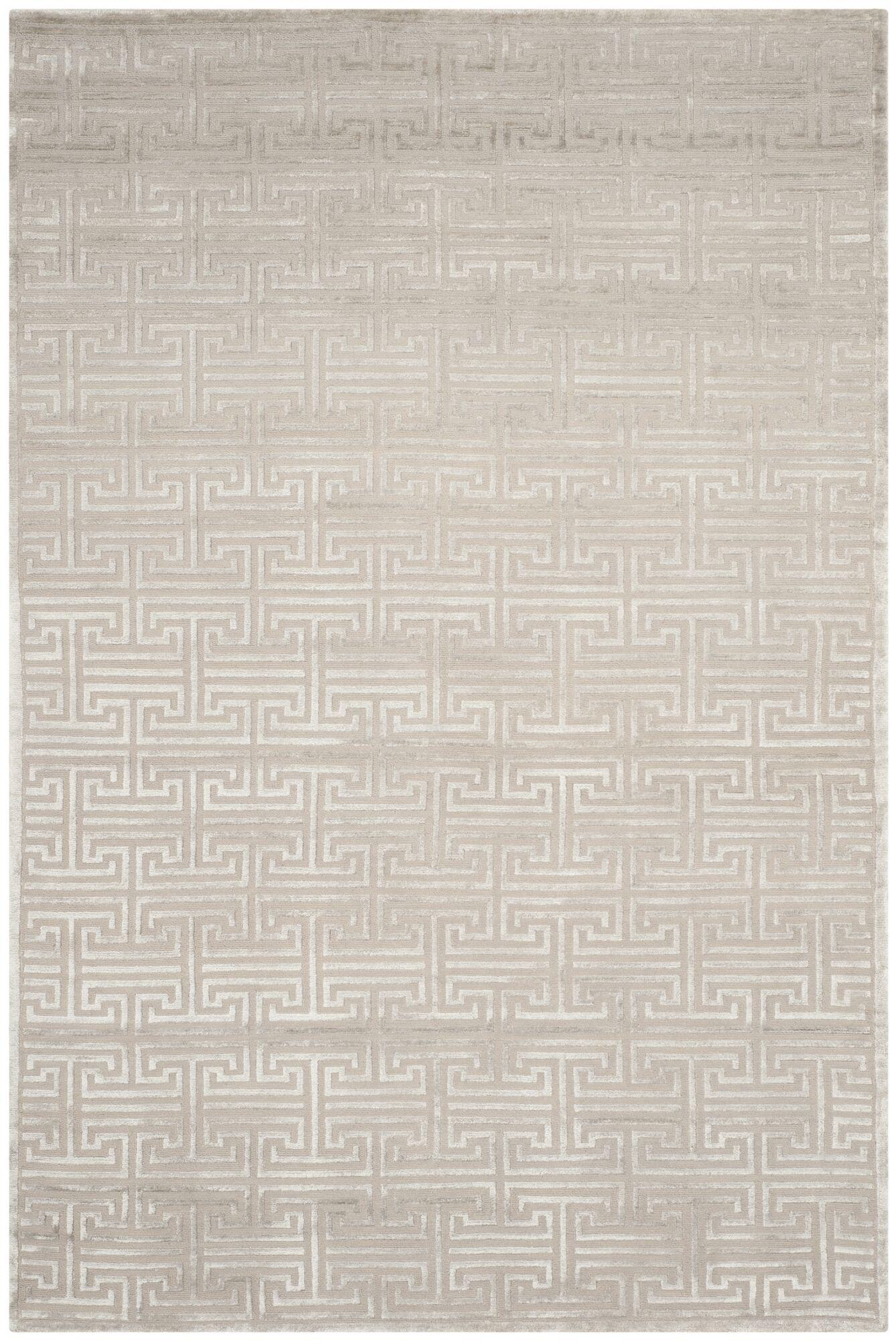 Fogg Tibetan Hand Knotted Gray Area Rug Rug Size: Rectangle 10' x 14'