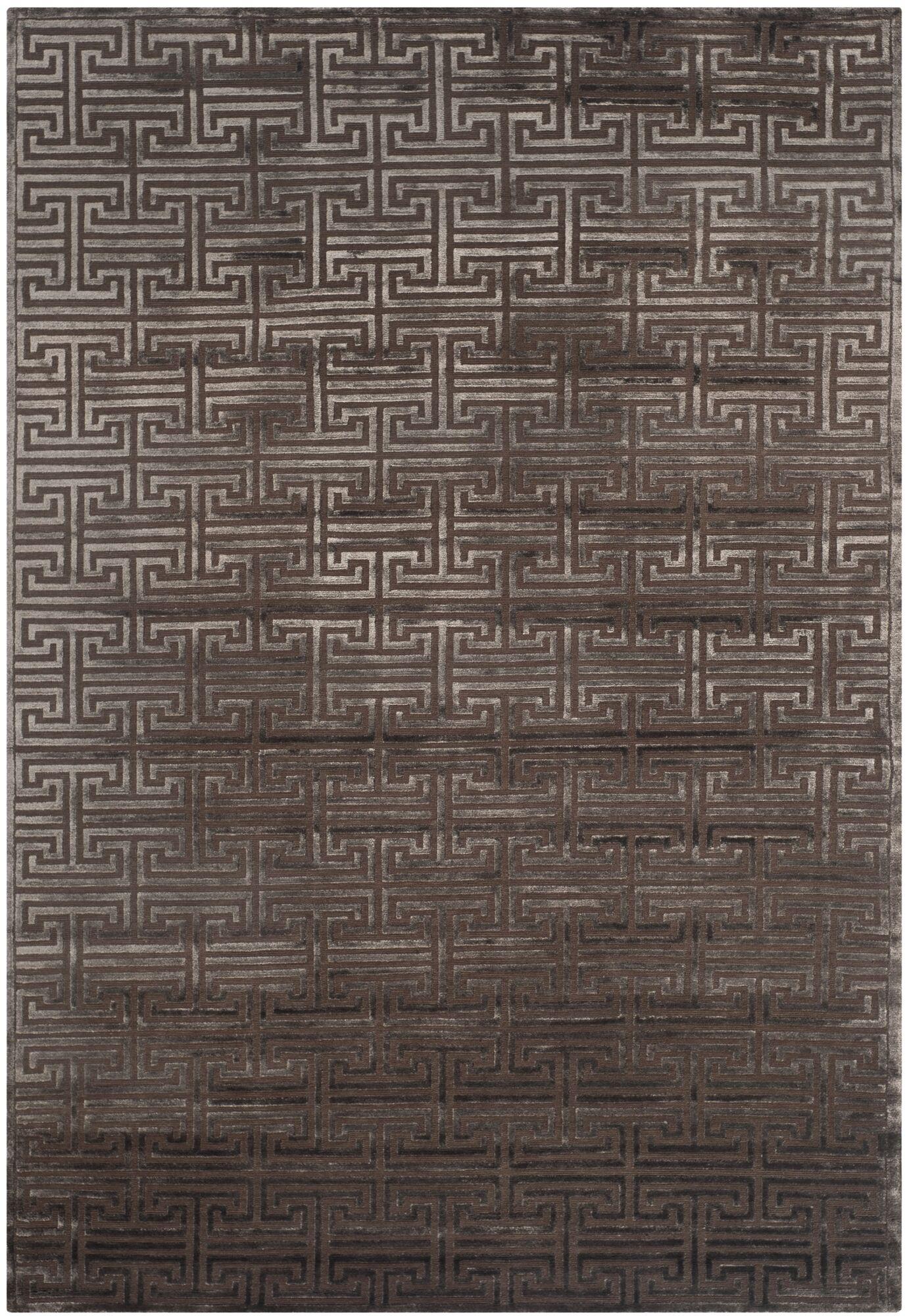 Fogg Tibetan Hand Knotted Brown Area Rug Rug Size: Rectangle 10' x 14'