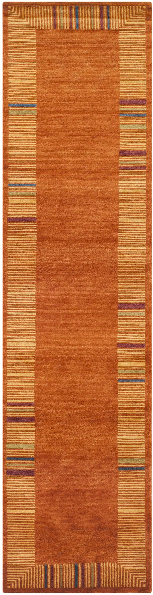 Kneiske Tibetan Hand Knotted Rust Area Rug Rug Size: Runner 2'6