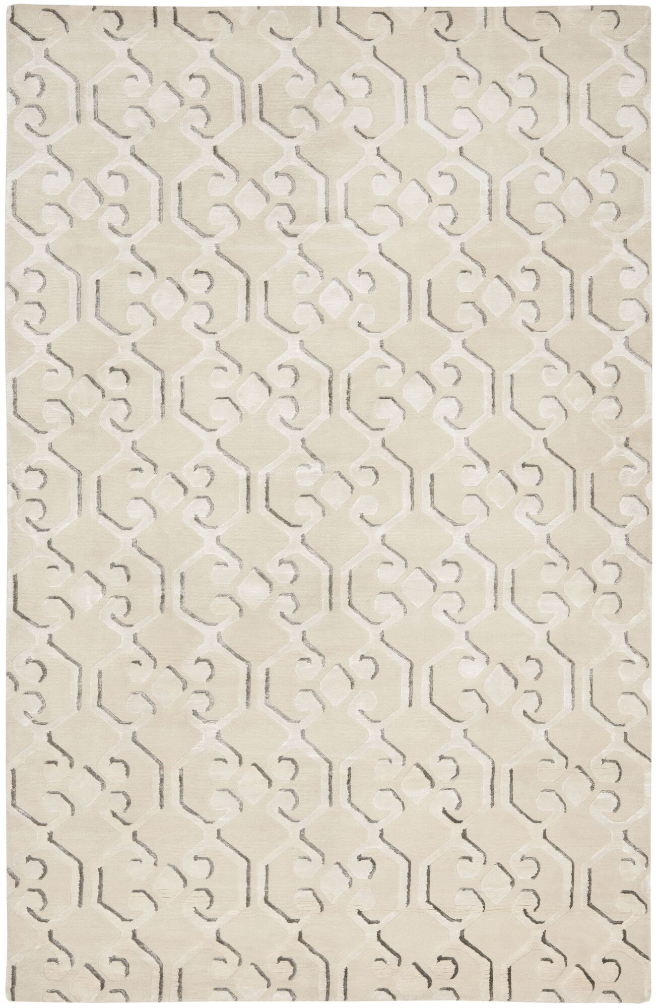 Wildhollow Tibetan Hand Knotted Ivory Area Rug Rug Size: Rectangle 10' x 14'
