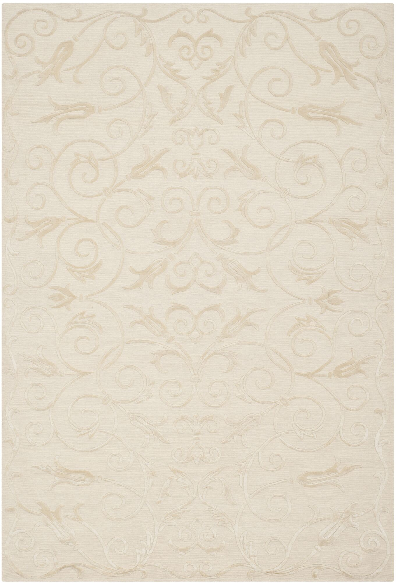 Tibetan Hand-Knotted Wool Pearl Area Rug Rug Size: Rectangle 6' x 9'